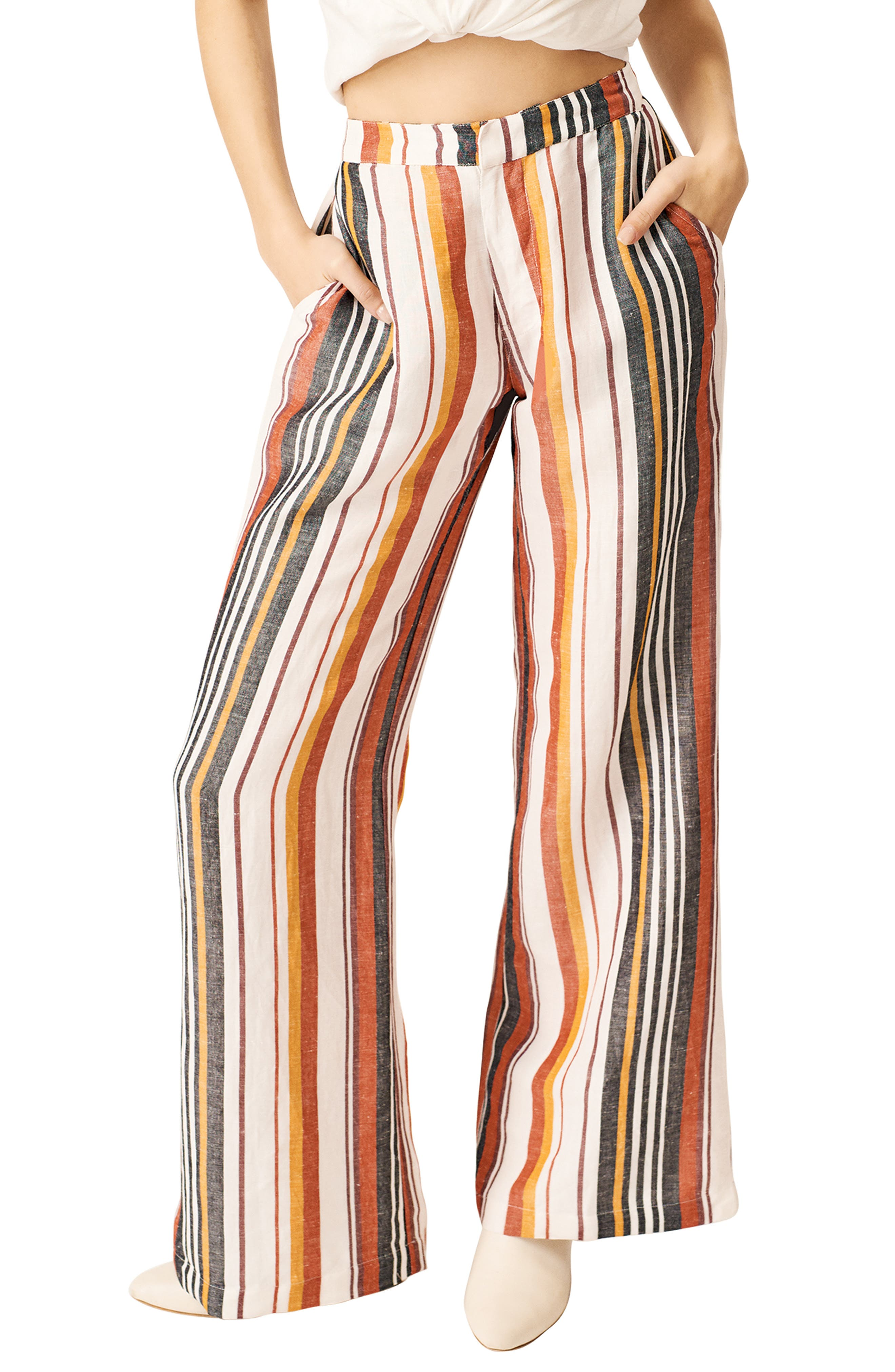 60s – 70s Pants, Jeans, Hippie, Bell Bottoms, Jumpsuits Womens Stone Row Hook It Up Stripe Pants $88.00 AT vintagedancer.com