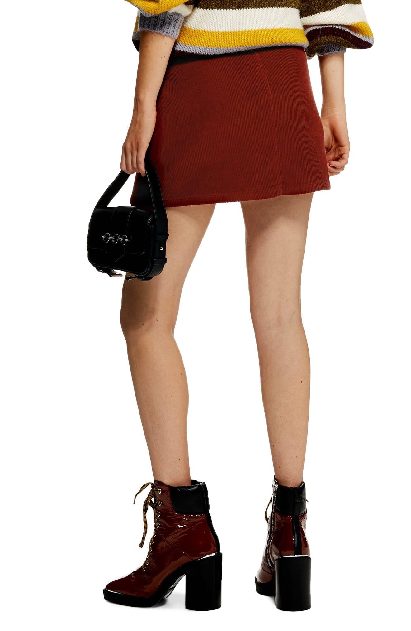 Front Zip Corduroy Miniskirt,                             Alternate thumbnail 2, color,                             RUST