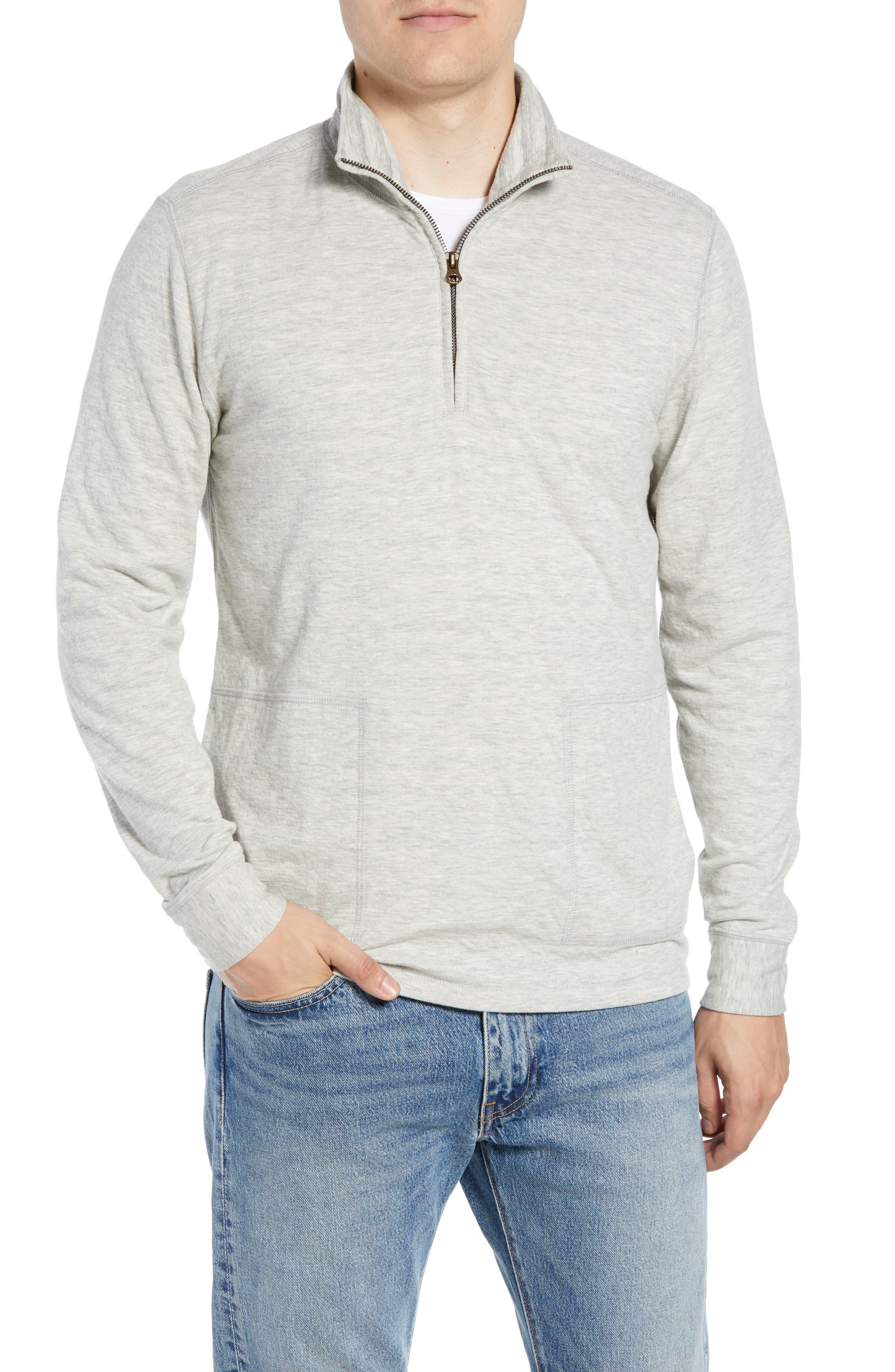 Billy Reid Charles Regular Fit Half Zip Sweater, Grey