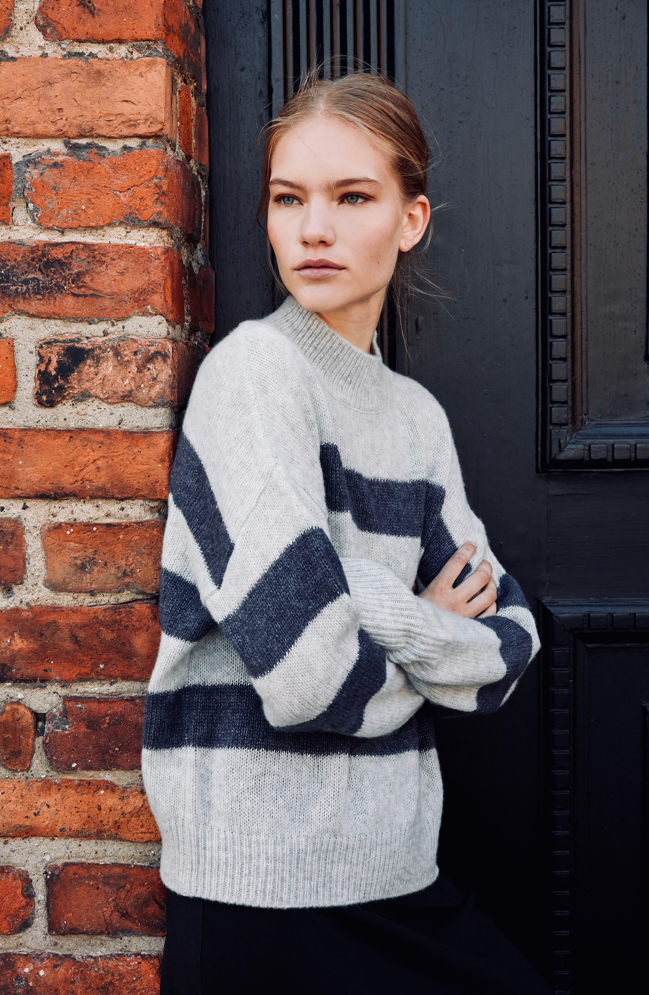Ellise Stripe Silk & Cashmere Blend Sweater,                             Alternate thumbnail 2, color,                             MIST INDIGO