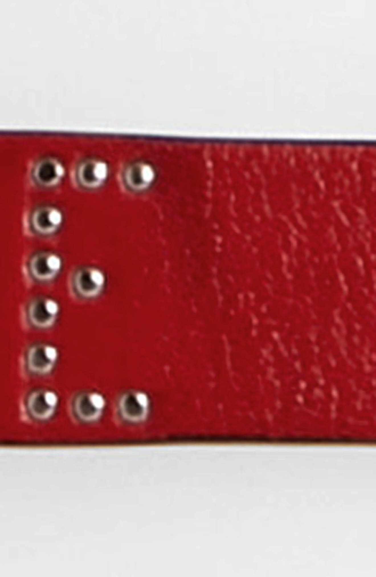 'Jet' Skinny Leather Belt,                             Alternate thumbnail 3, color,                             FIERY RED