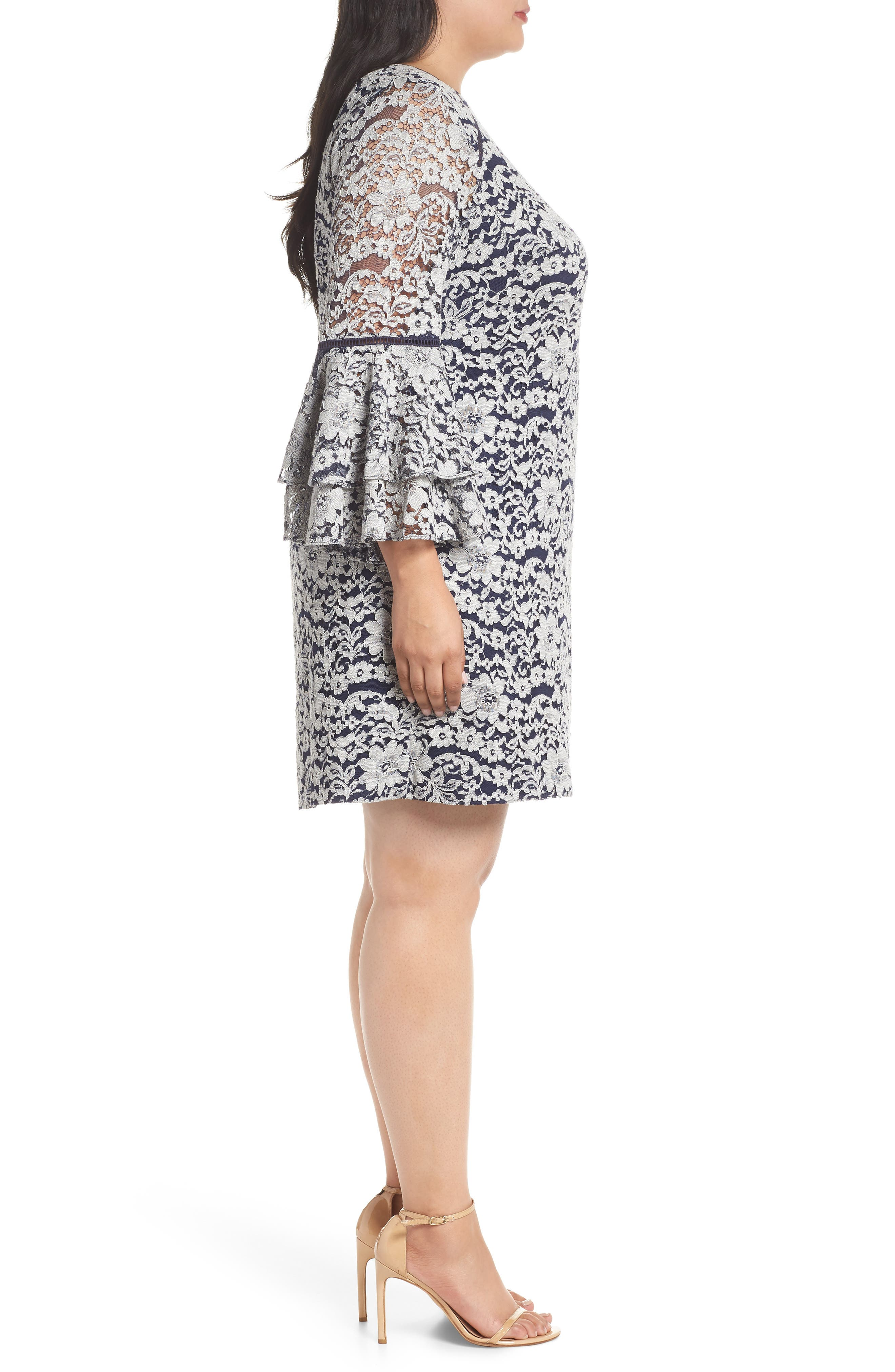 Lace Tier Bell Sleeve Shift Dress,                             Alternate thumbnail 3, color,                             401