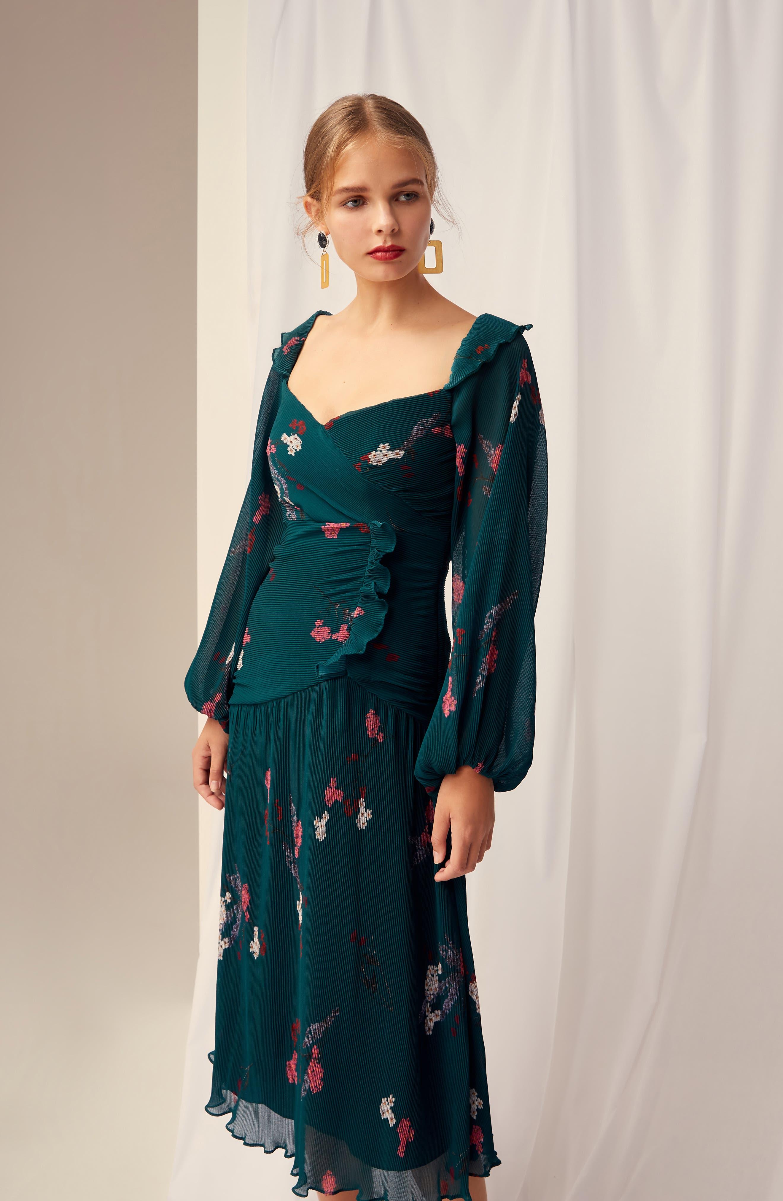 Night Fall Midi Dress,                             Alternate thumbnail 8, color,                             310