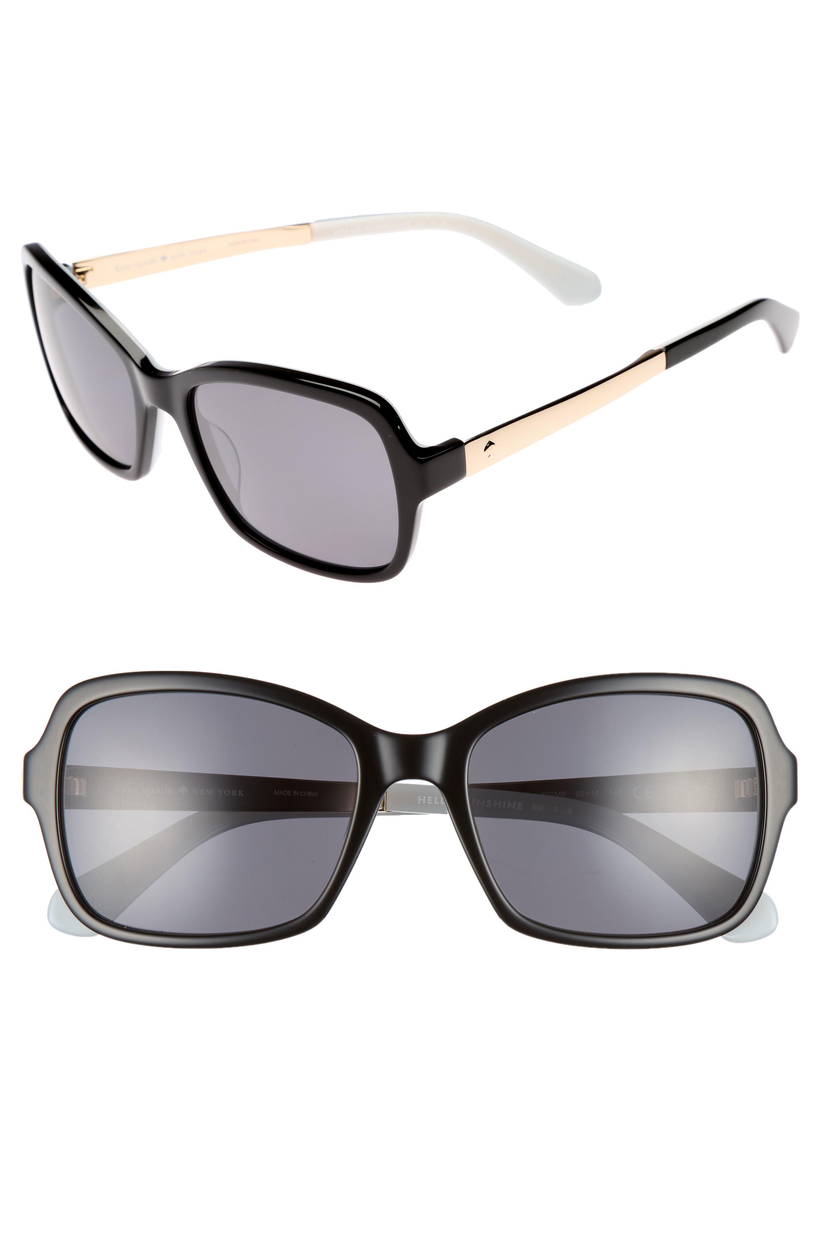 annjanette 55mm polarized sunglasses,                         Main,                         color, BLACK