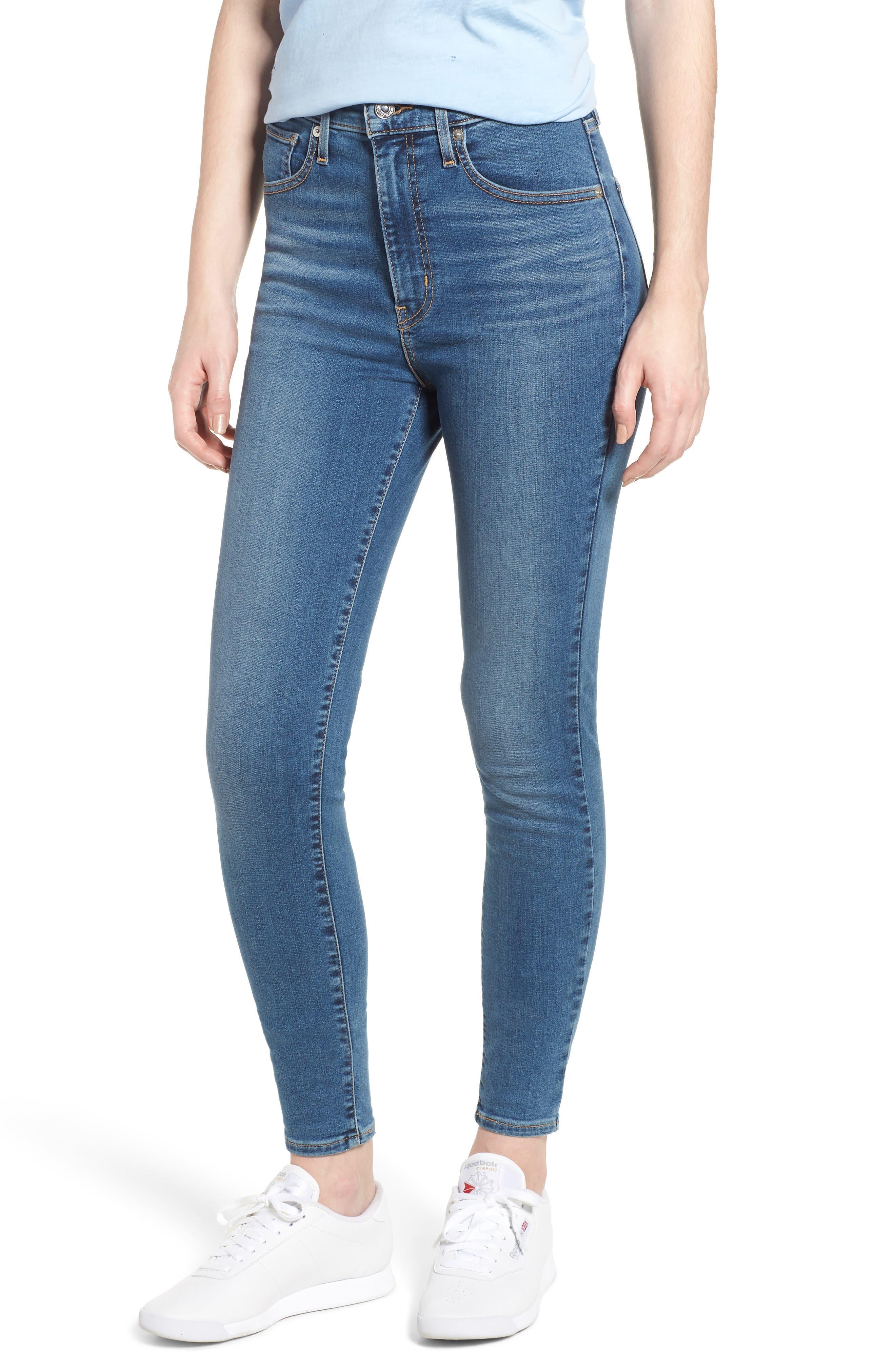 Mile High Super Skinny Jeans,                             Main thumbnail 1, color,                             MED BLUE 1