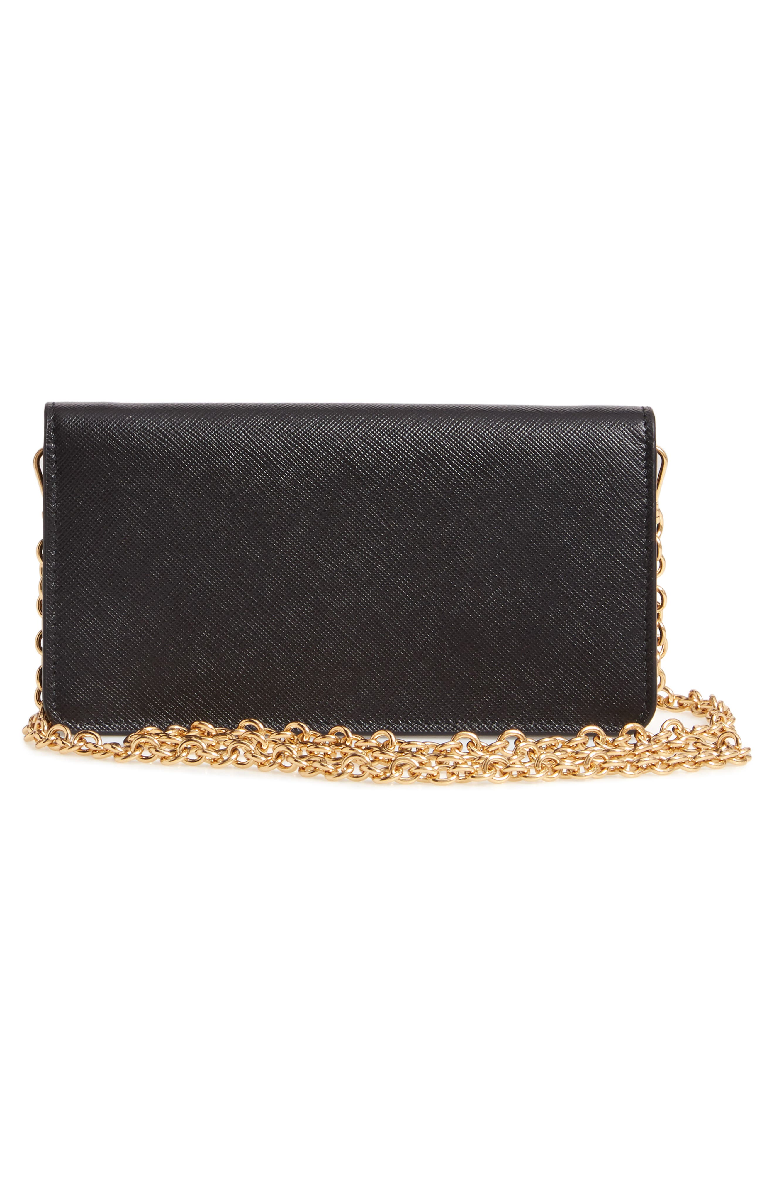 Leather Wallet on a Chain,                             Alternate thumbnail 3, color,                             NERO