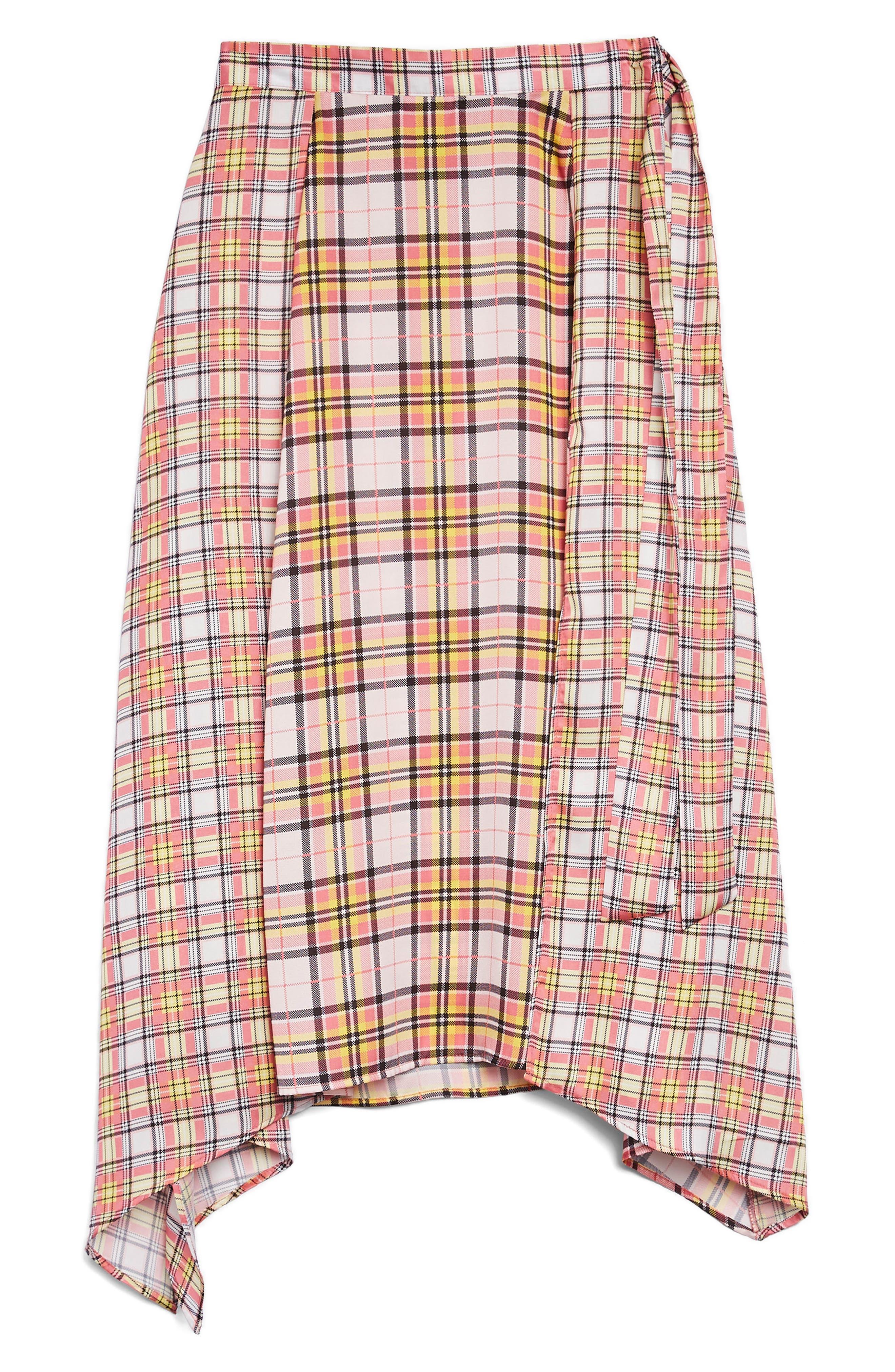 Mixed Check Midi Skirt,                             Alternate thumbnail 3, color,                             650
