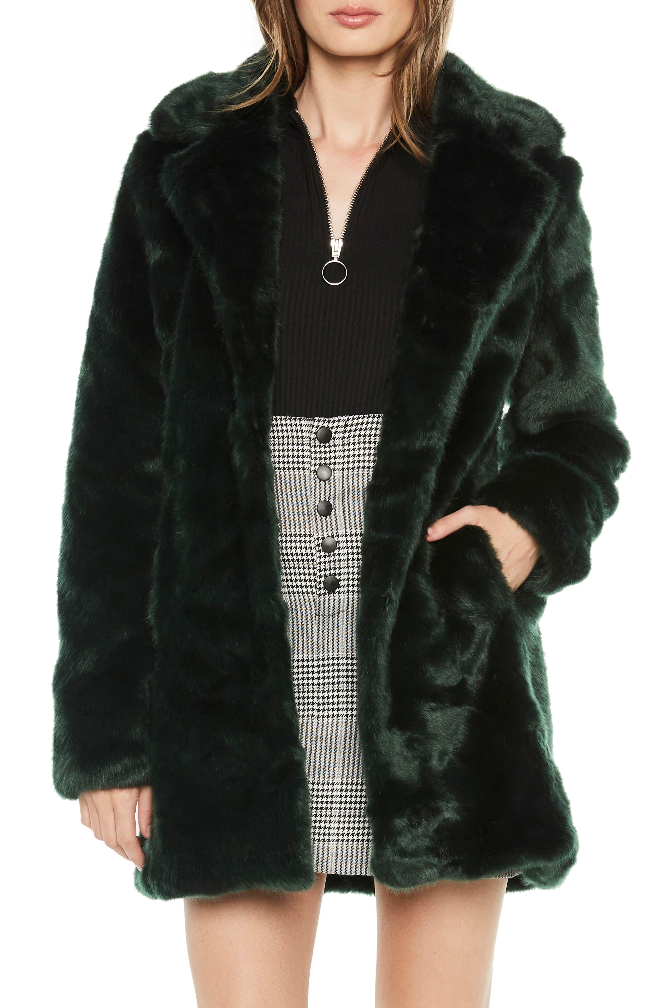 Faux Fur Coat, Main, color, FOREST