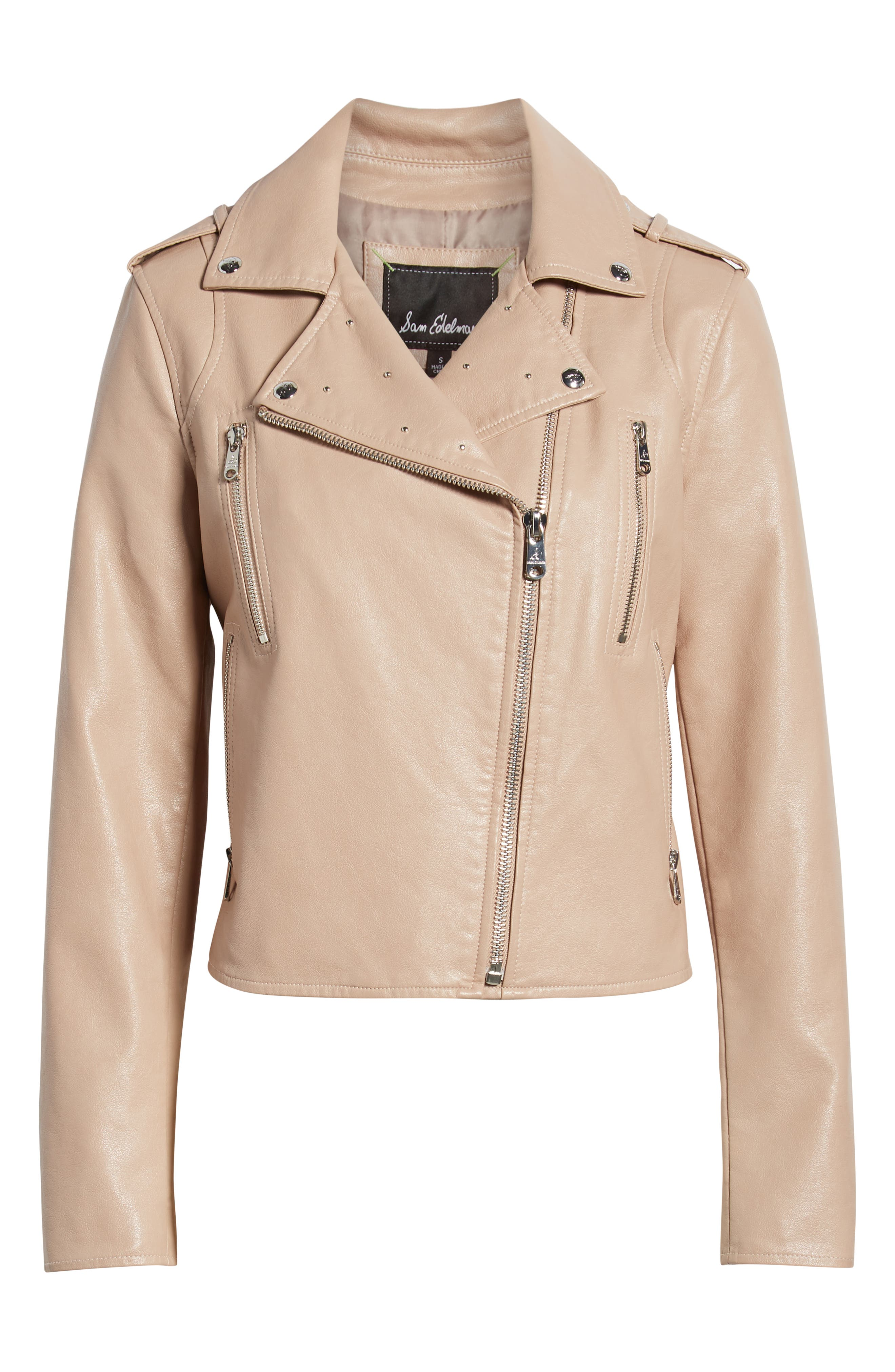 SAM EDELMAN,                             Washed Faux Leather Moto Jacket,                             Alternate thumbnail 5, color,                             NUDE