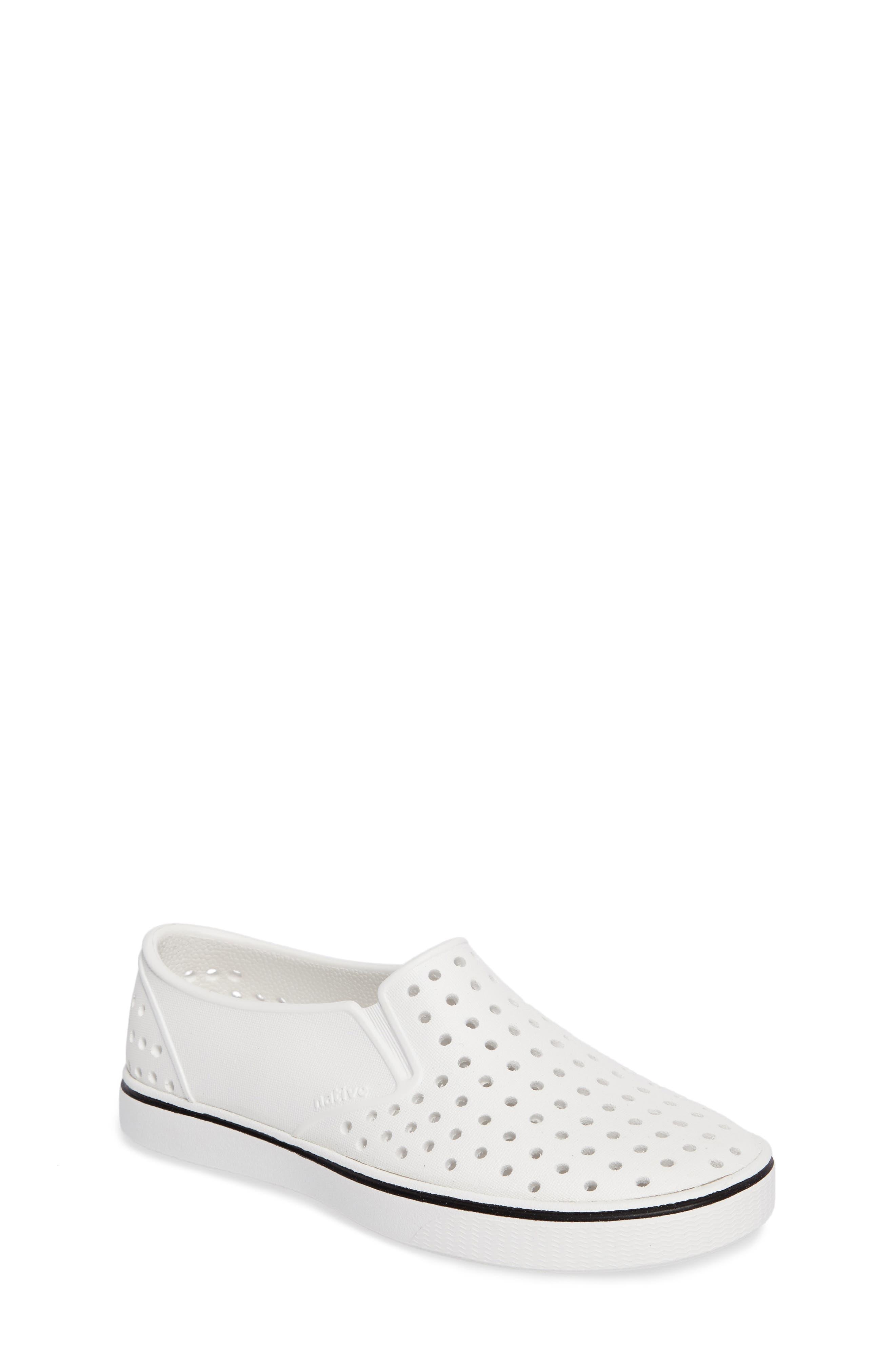 Miles Water Friendly Slip-On Sneaker,                             Main thumbnail 1, color,                             SHELL WHITE