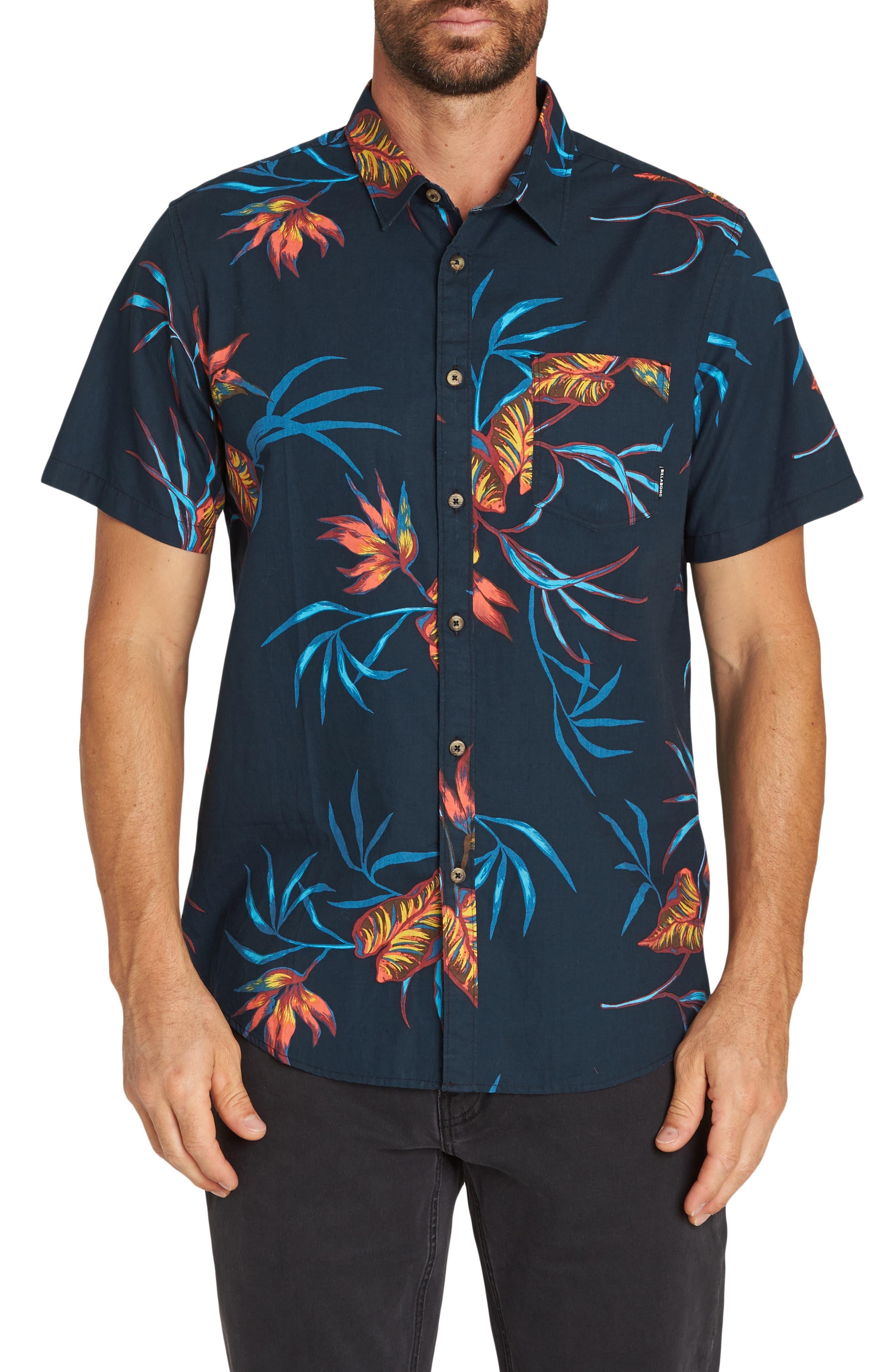 Billabong Sundays Floral Woven Shirt, Blue