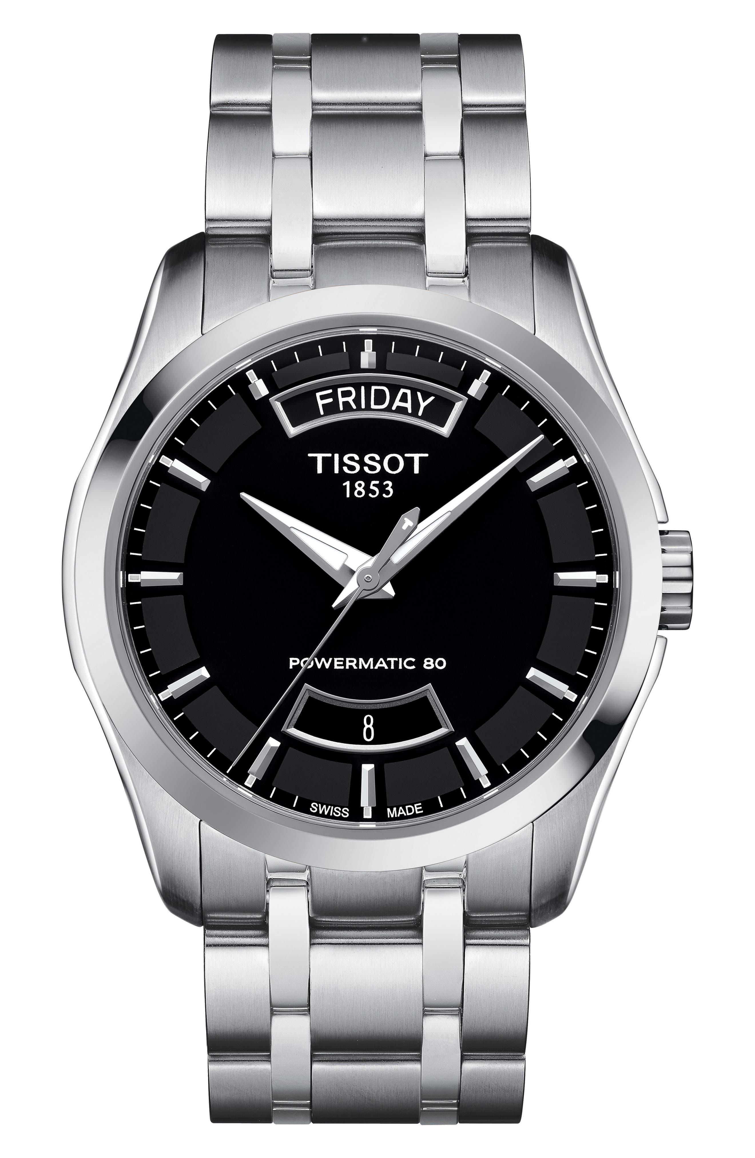 TISSOT,                             Couturier Automatic Bracelet Watch, 39mm,                             Main thumbnail 1, color,                             SILVER/ BLACK/ SILVER