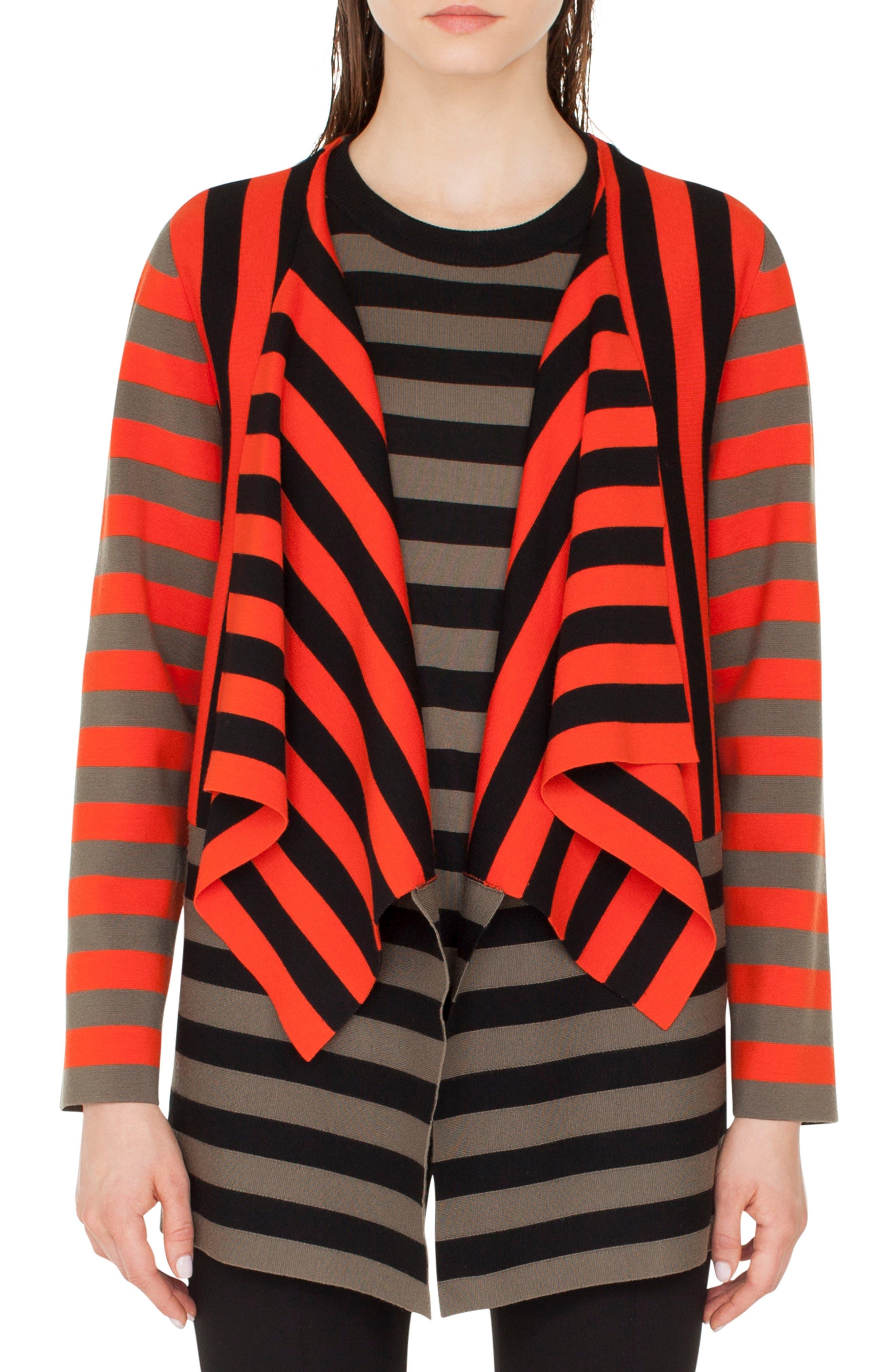 Stripe Open Cardigan,                             Main thumbnail 1, color,                             ROSSO FORTE-NERO-OLIVA