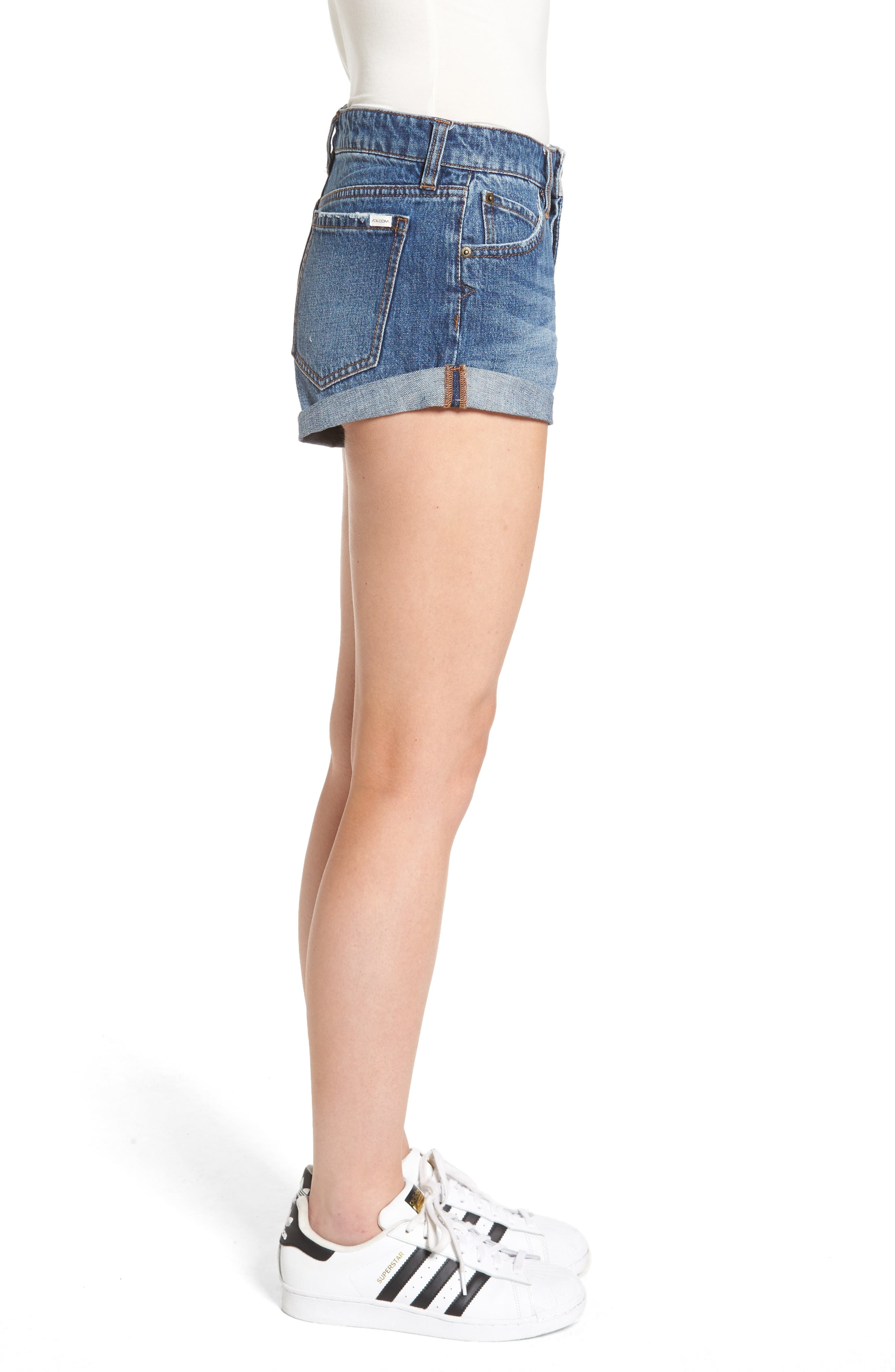 Rolled Denim Shorts,                             Alternate thumbnail 5, color,