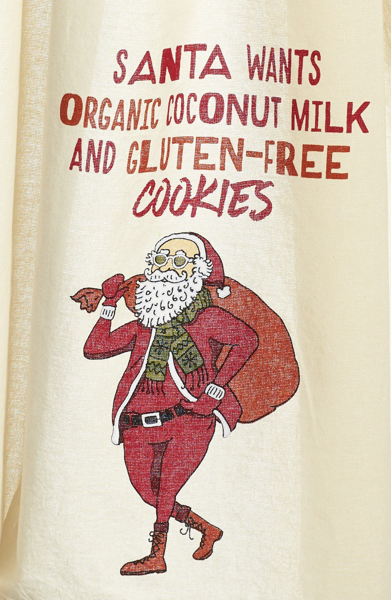Hipster Santa Dish Towel,                             Alternate thumbnail 2, color,