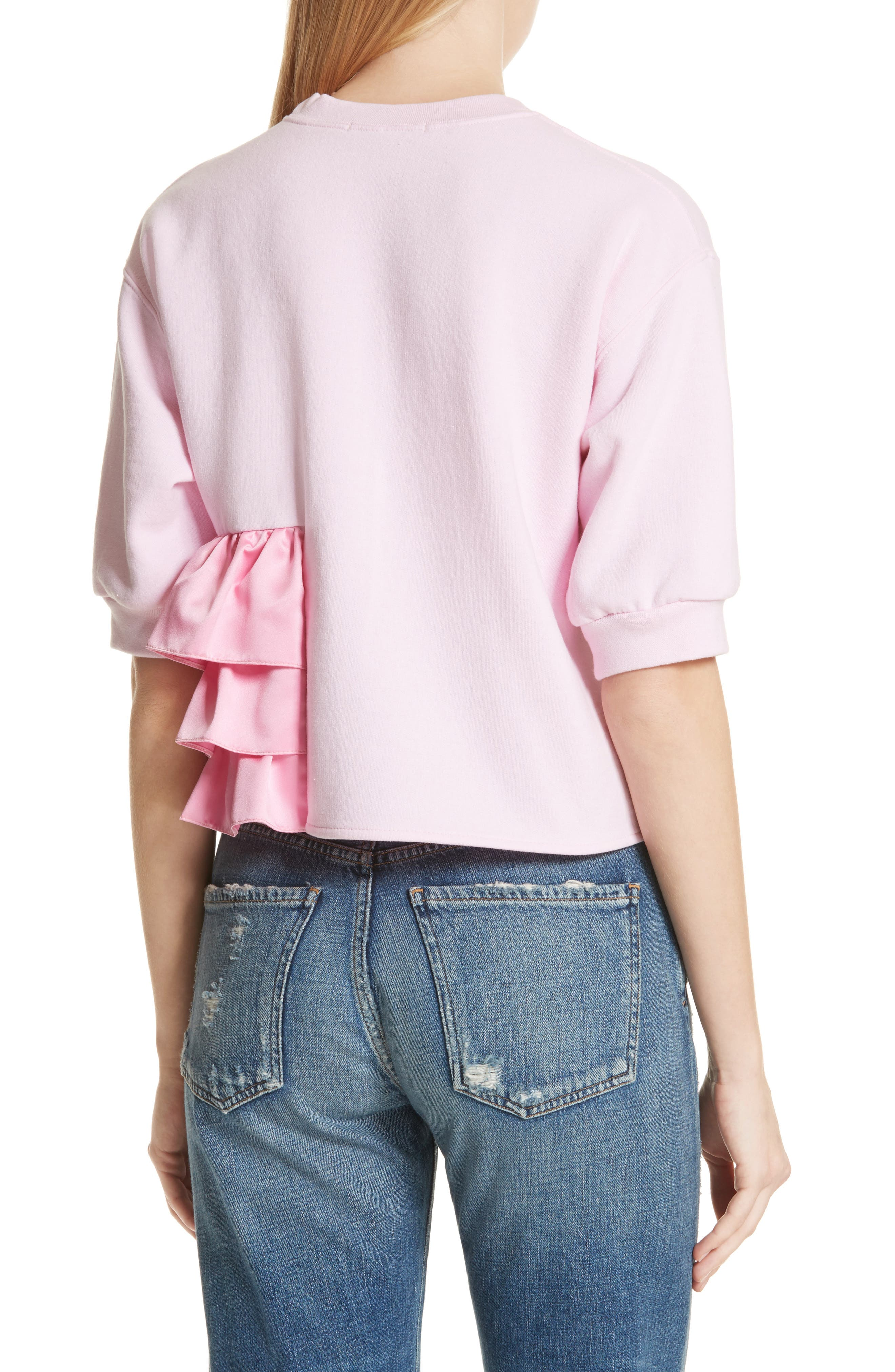 Ruffle Detail Crop Sweatshirt,                             Alternate thumbnail 2, color,                             650