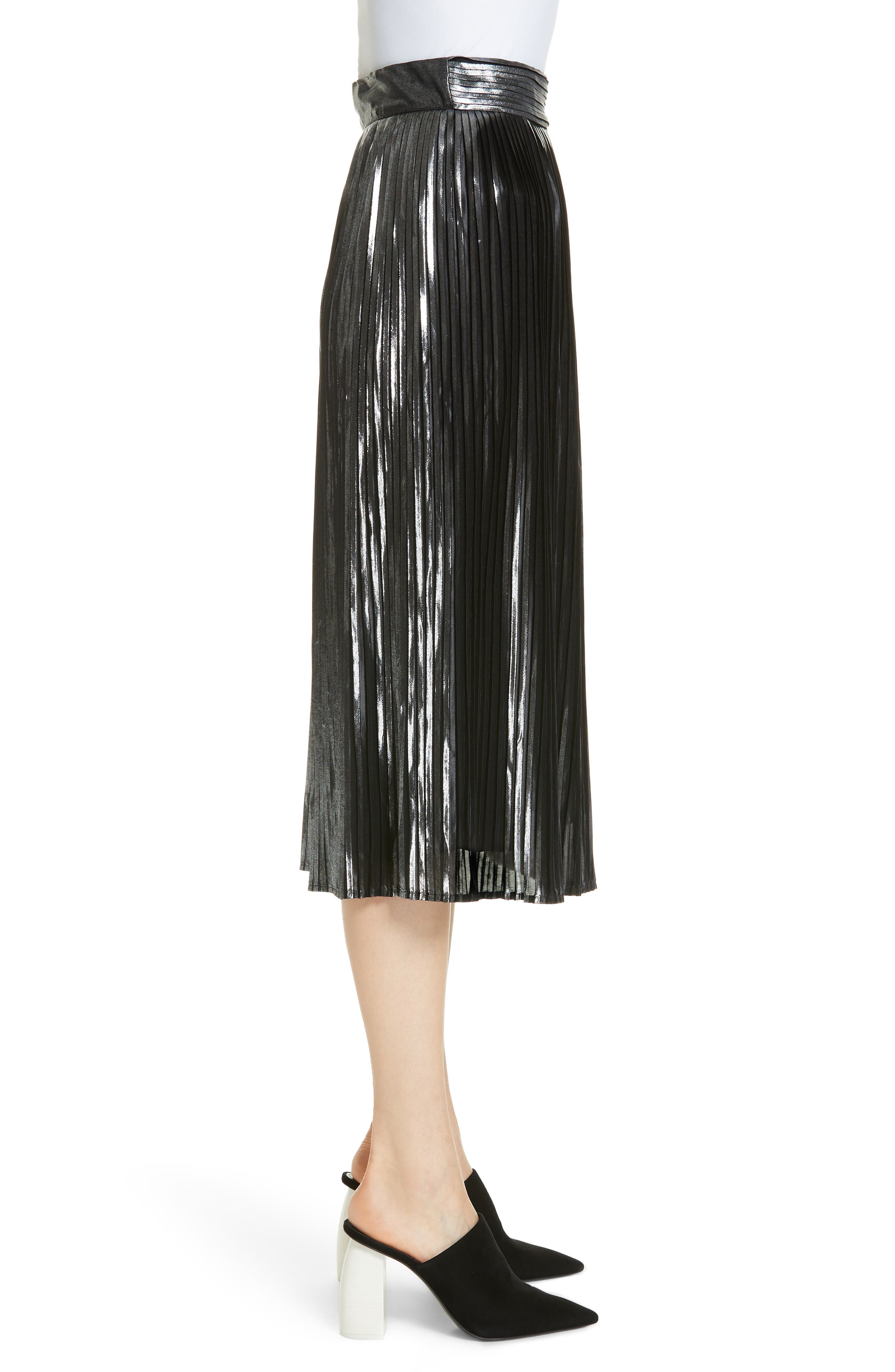 Palace Micropleat Metallic Skirt,                             Alternate thumbnail 3, color,                             ARGENT