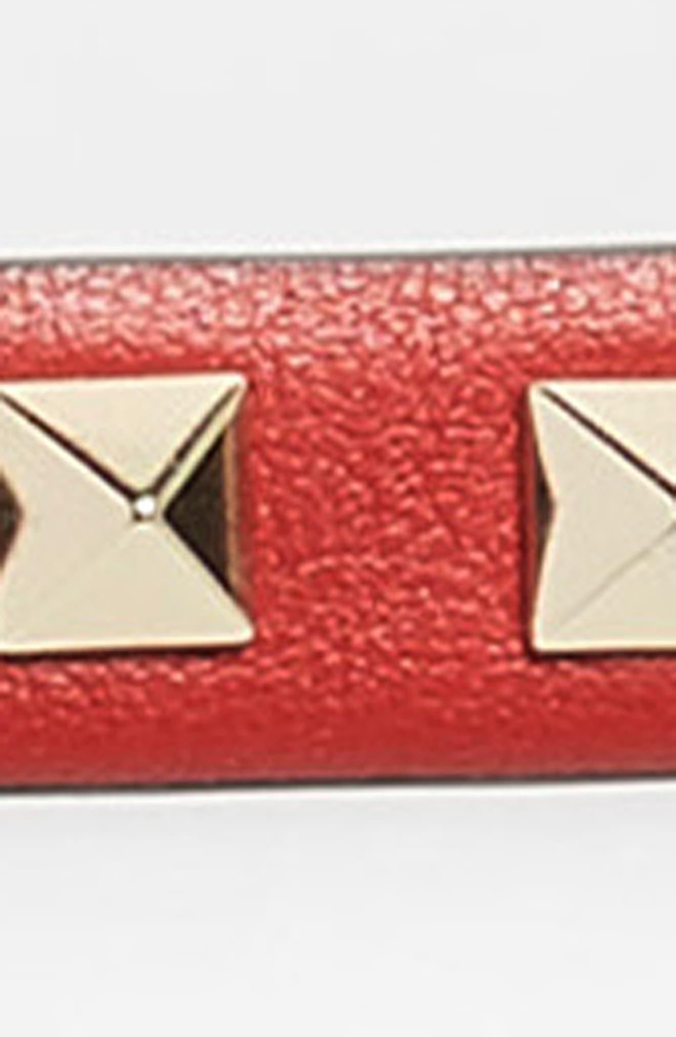 Rockstud Calfskin Leather Belt,                             Alternate thumbnail 3, color,                             RED