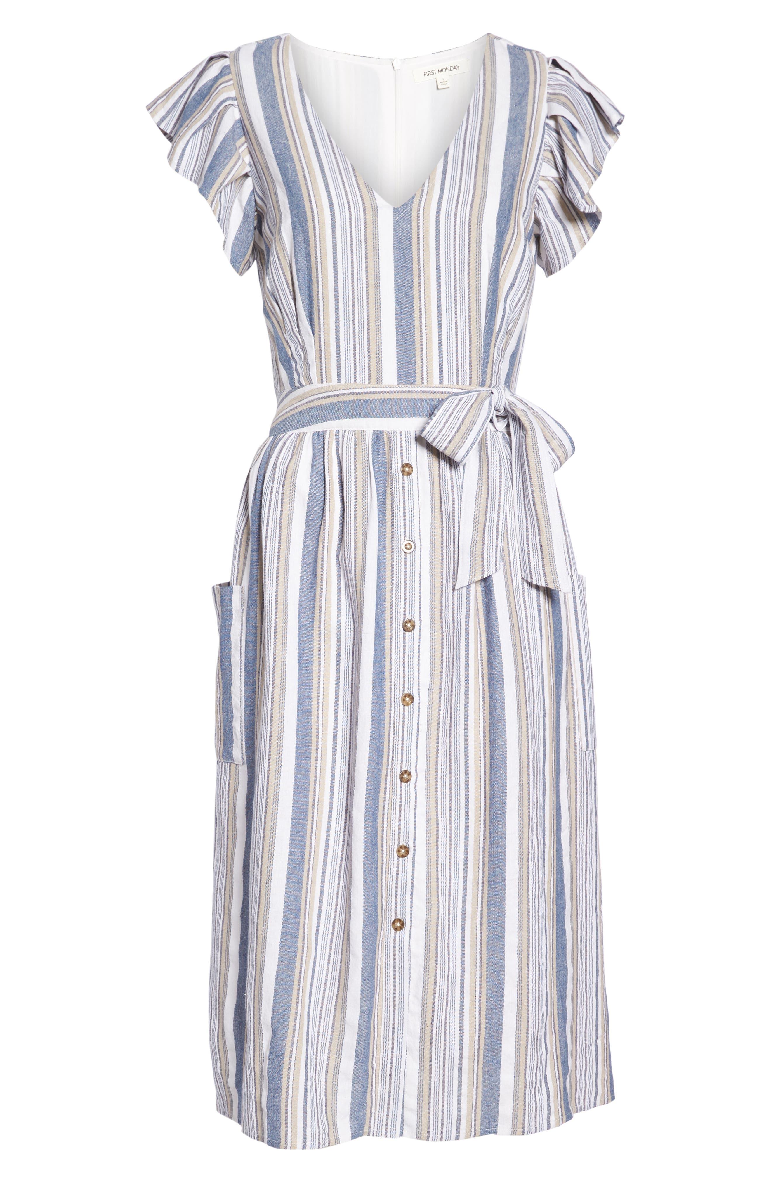 Stripe Button Front Fit & Flare Midi Dress,                             Alternate thumbnail 7, color,                             400