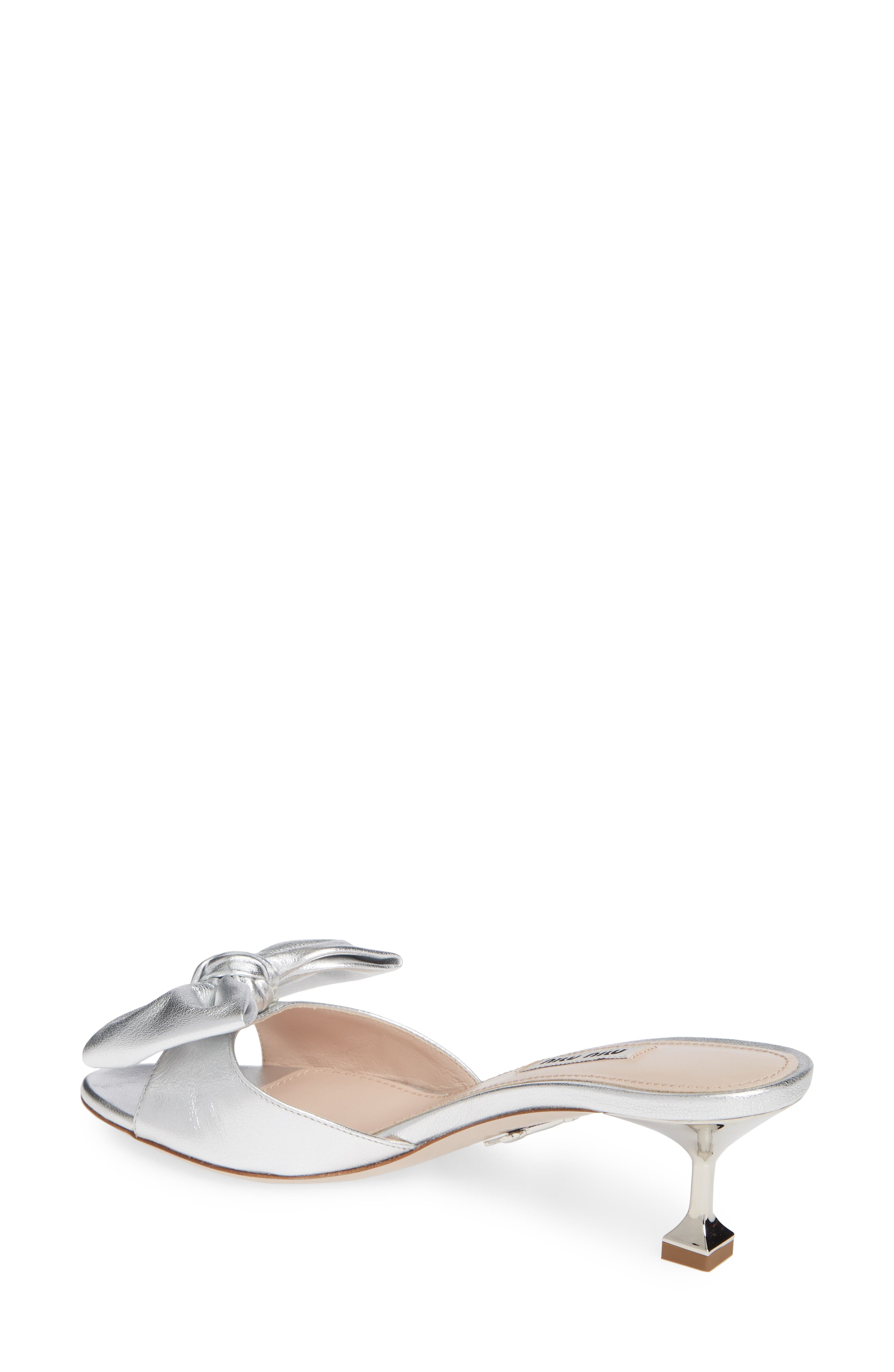 Bow Slide Sandal,                             Alternate thumbnail 2, color,                             SILVER