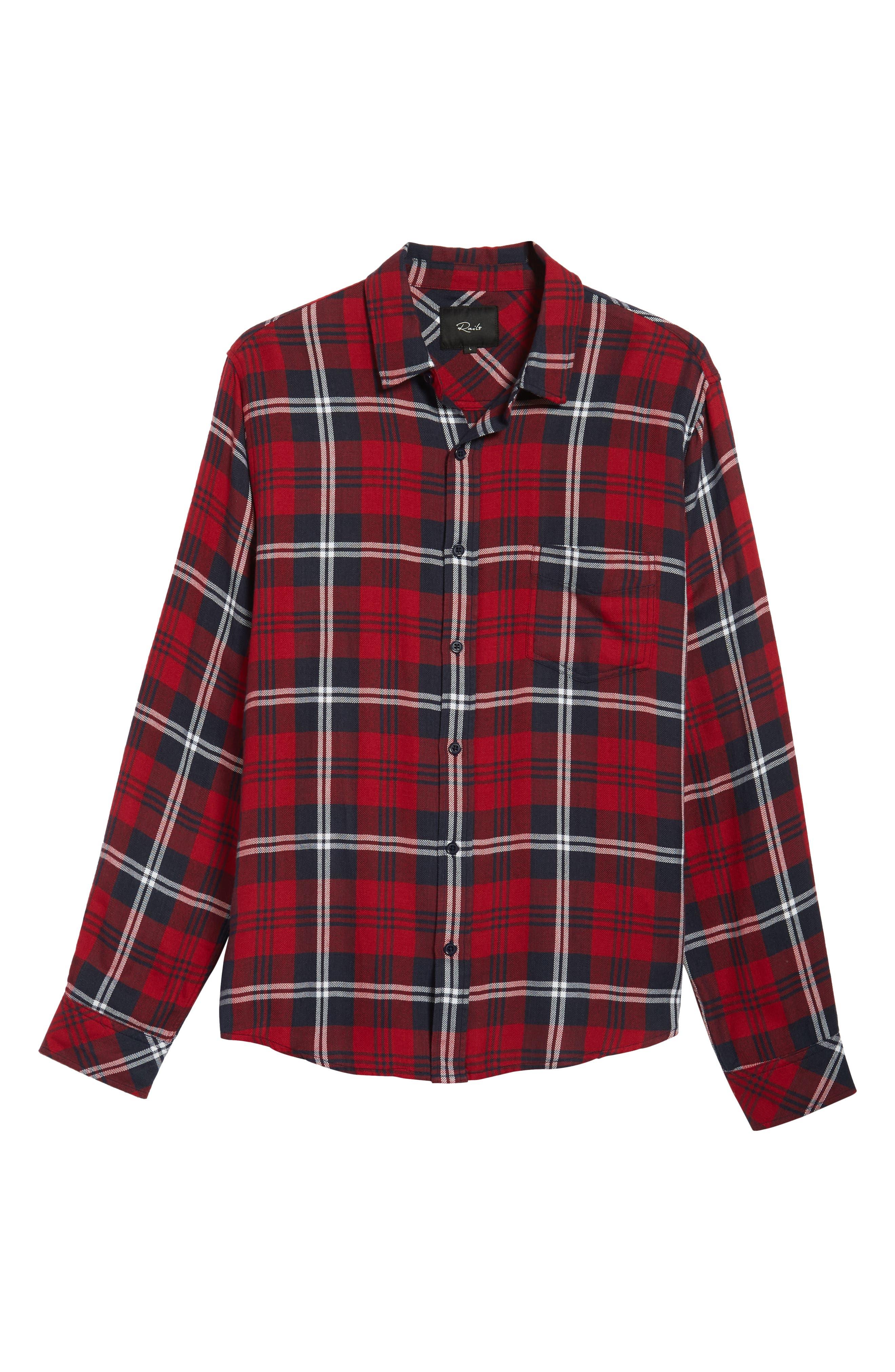RAILS,                             Lennox Sport Shirt,                             Alternate thumbnail 5, color,                             RED/ NAVY/ WHITE