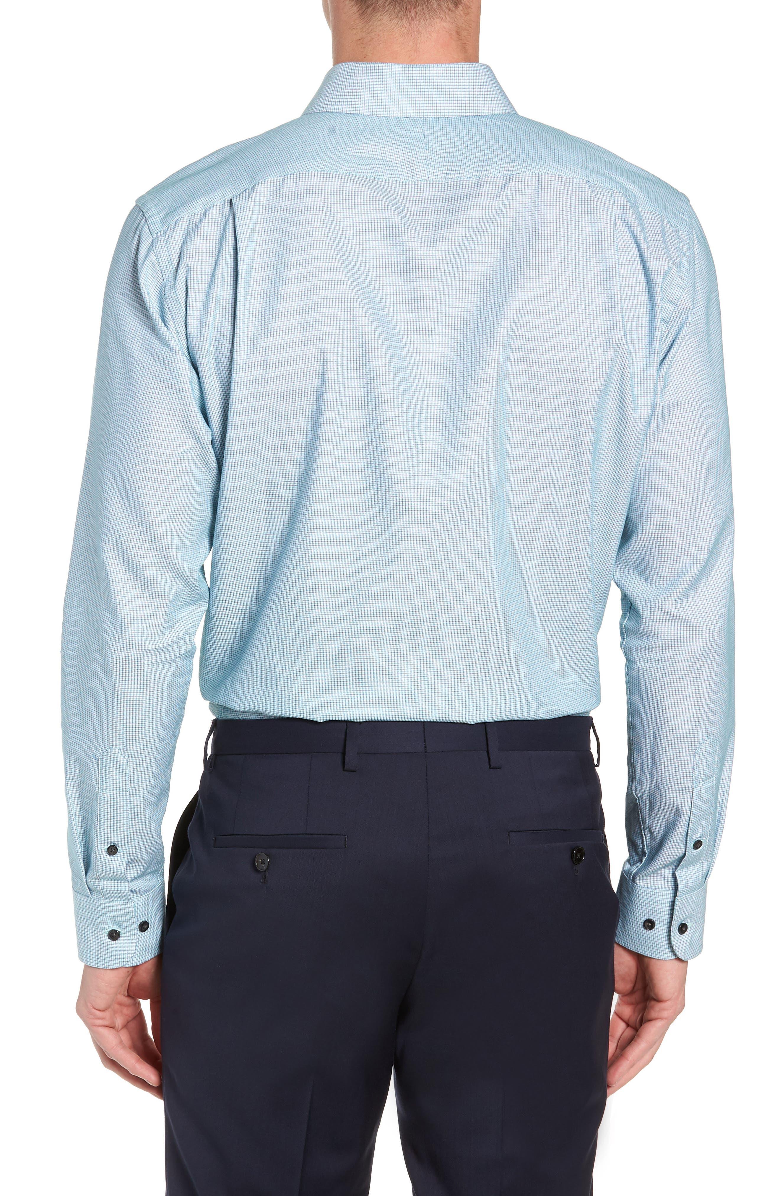 Trim Fit Check Dress Shirt,                             Alternate thumbnail 3, color,                             GREEN GOLF
