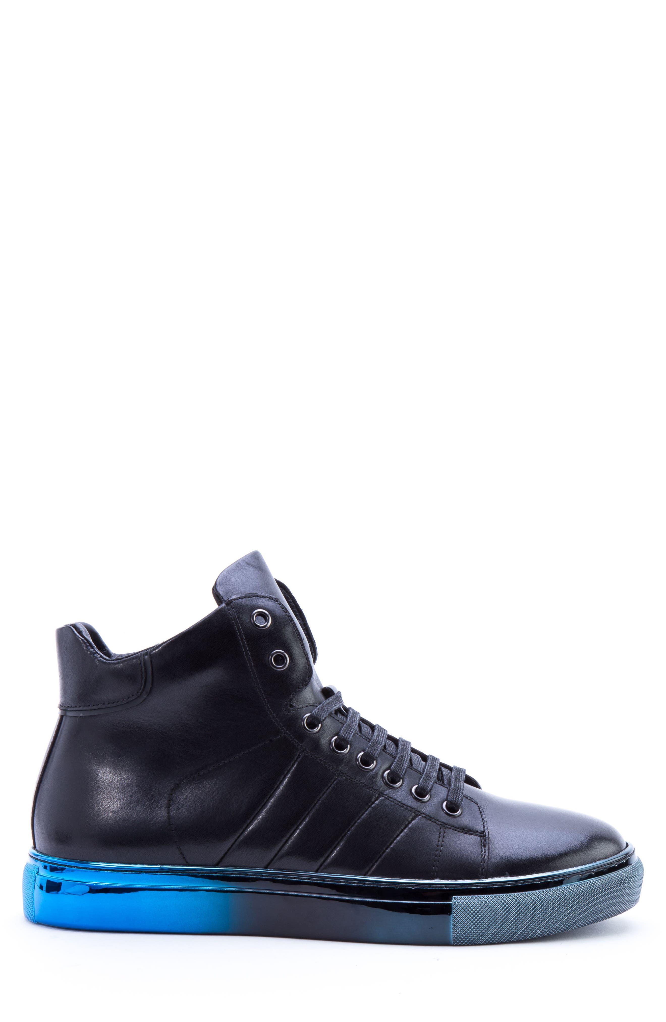 Badgley Mischka Hunter High Top Sneaker,                             Alternate thumbnail 3, color,                             NAVY LEATHER