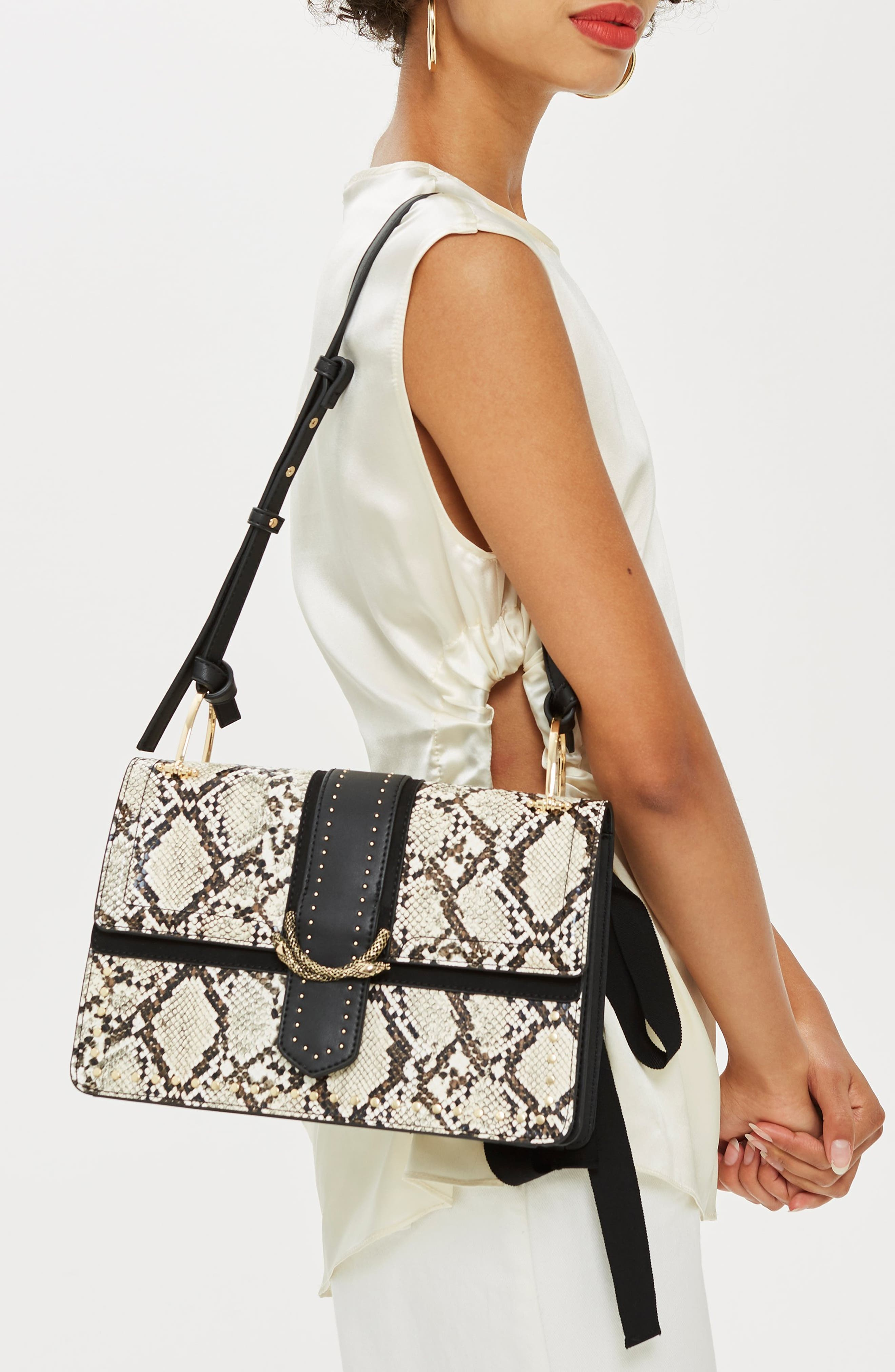 Suri Snake Effect Shoulder Bag,                             Alternate thumbnail 2, color,                             BLACK MULTI