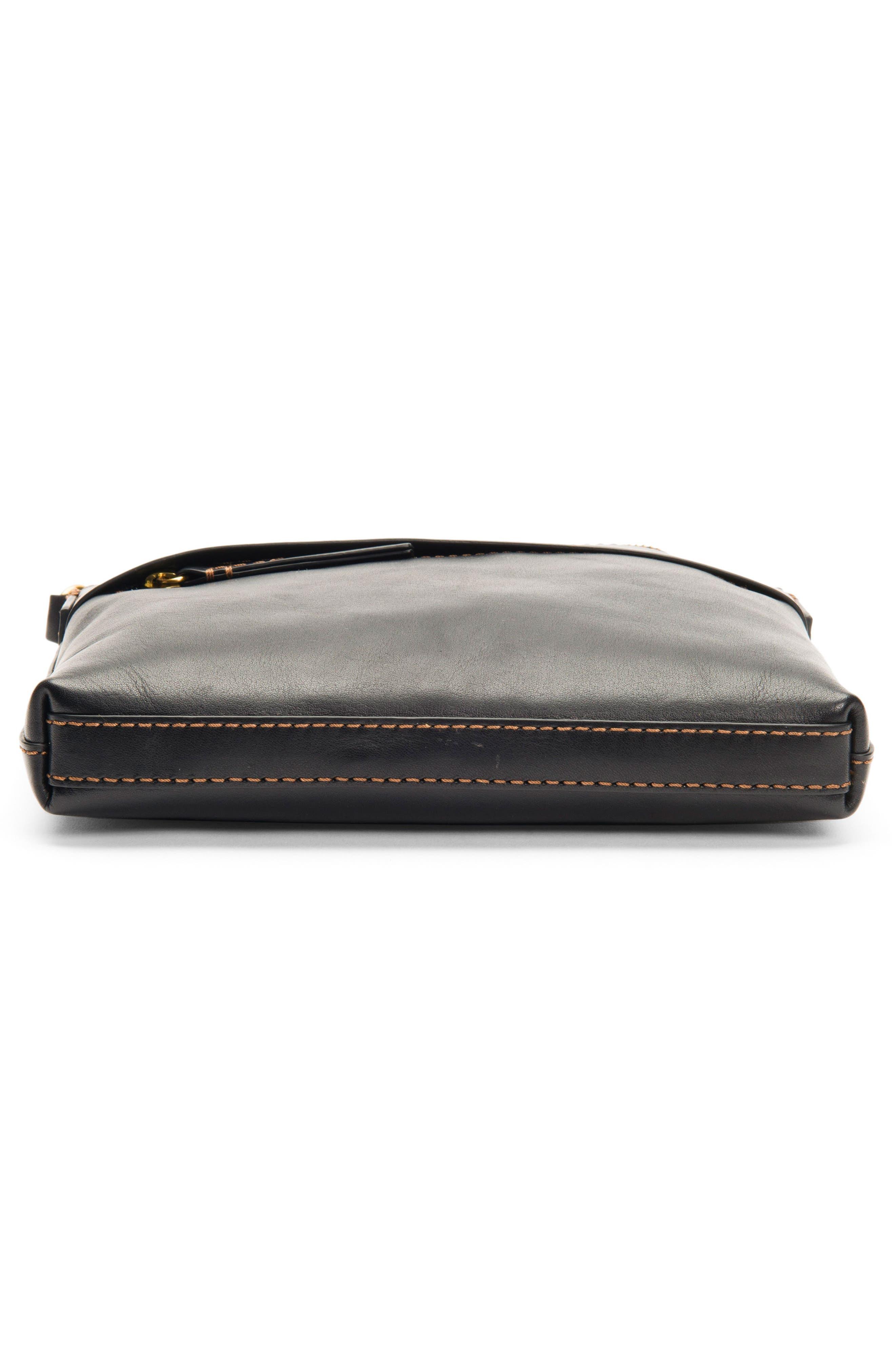 Carson Leather Crossbody Bag,                             Alternate thumbnail 5, color,                             BLACK
