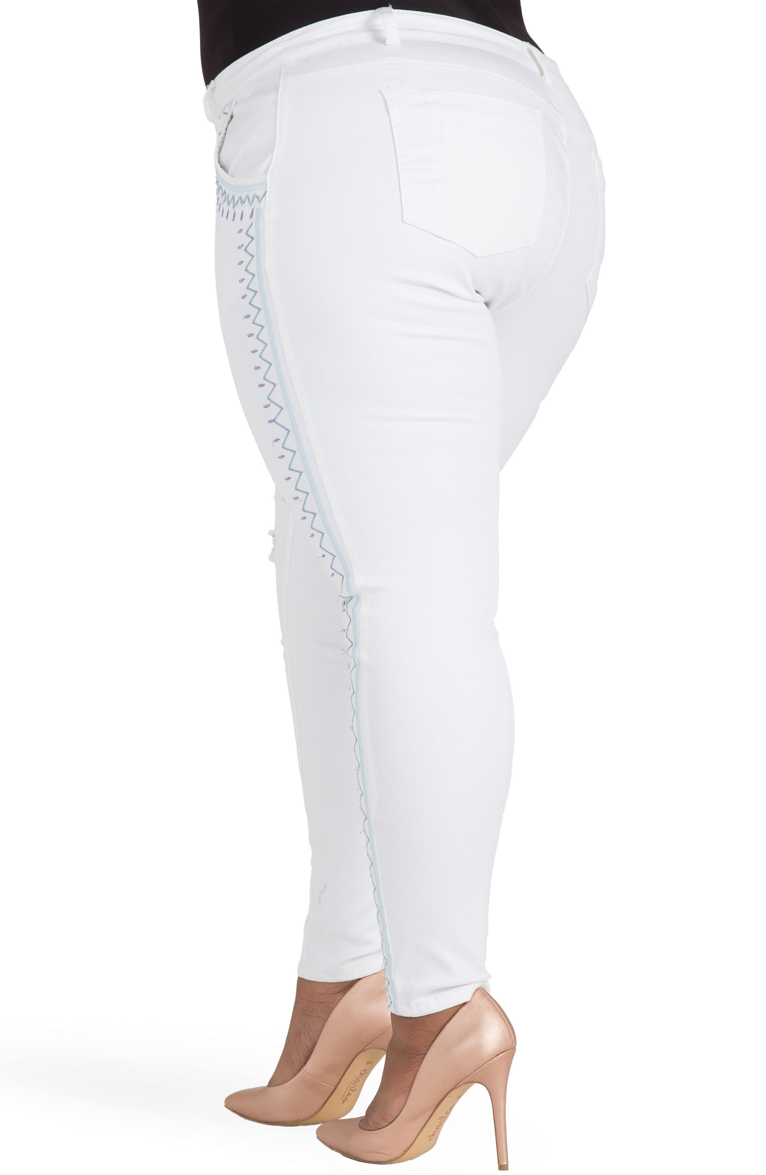 Shantelle Embroidered Distressed Skinny Jeans,                             Alternate thumbnail 2, color,                             WHITEOUT