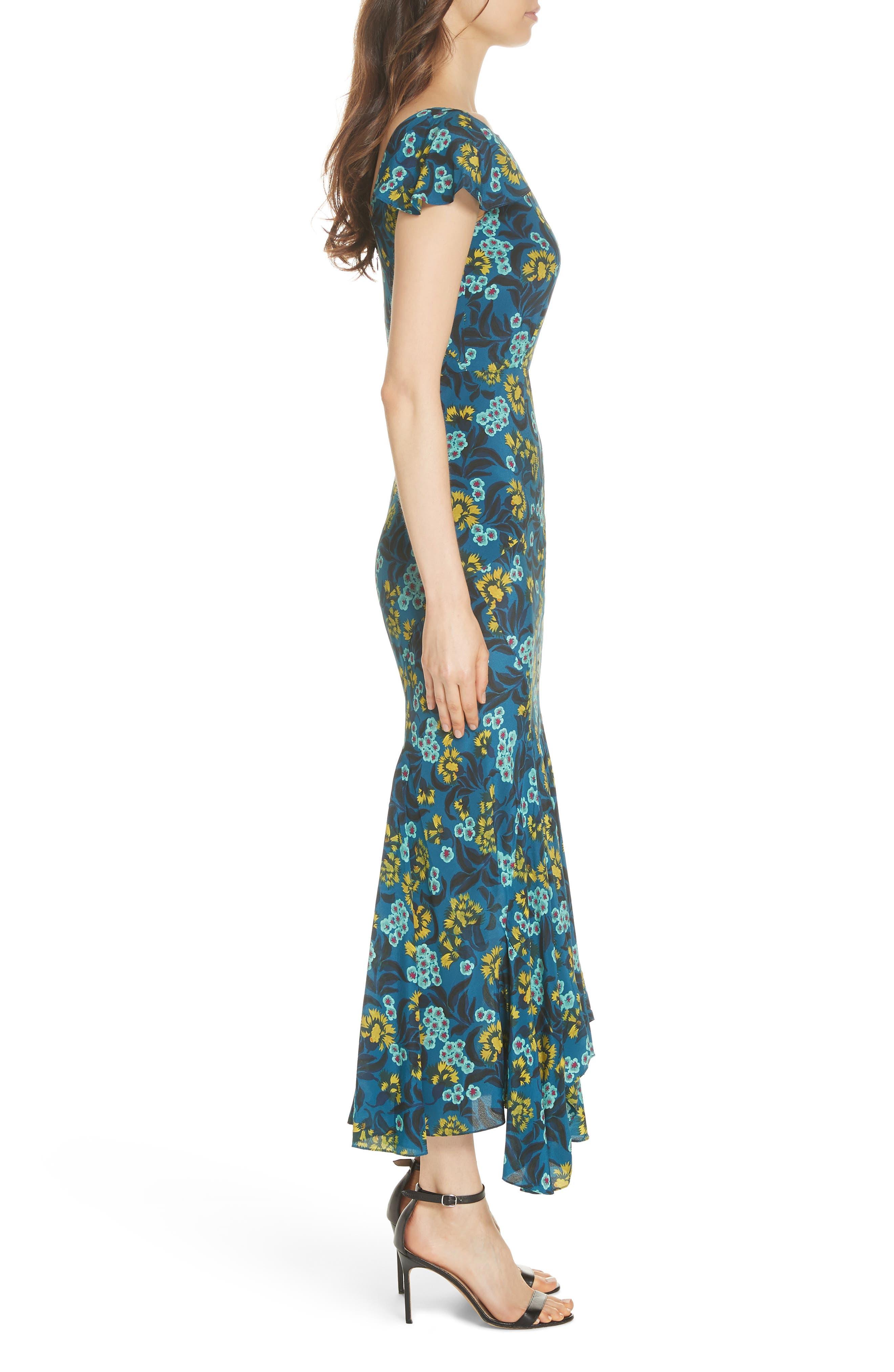 Daphne Floral Print Dress,                             Alternate thumbnail 3, color,                             TEAL AZALEA