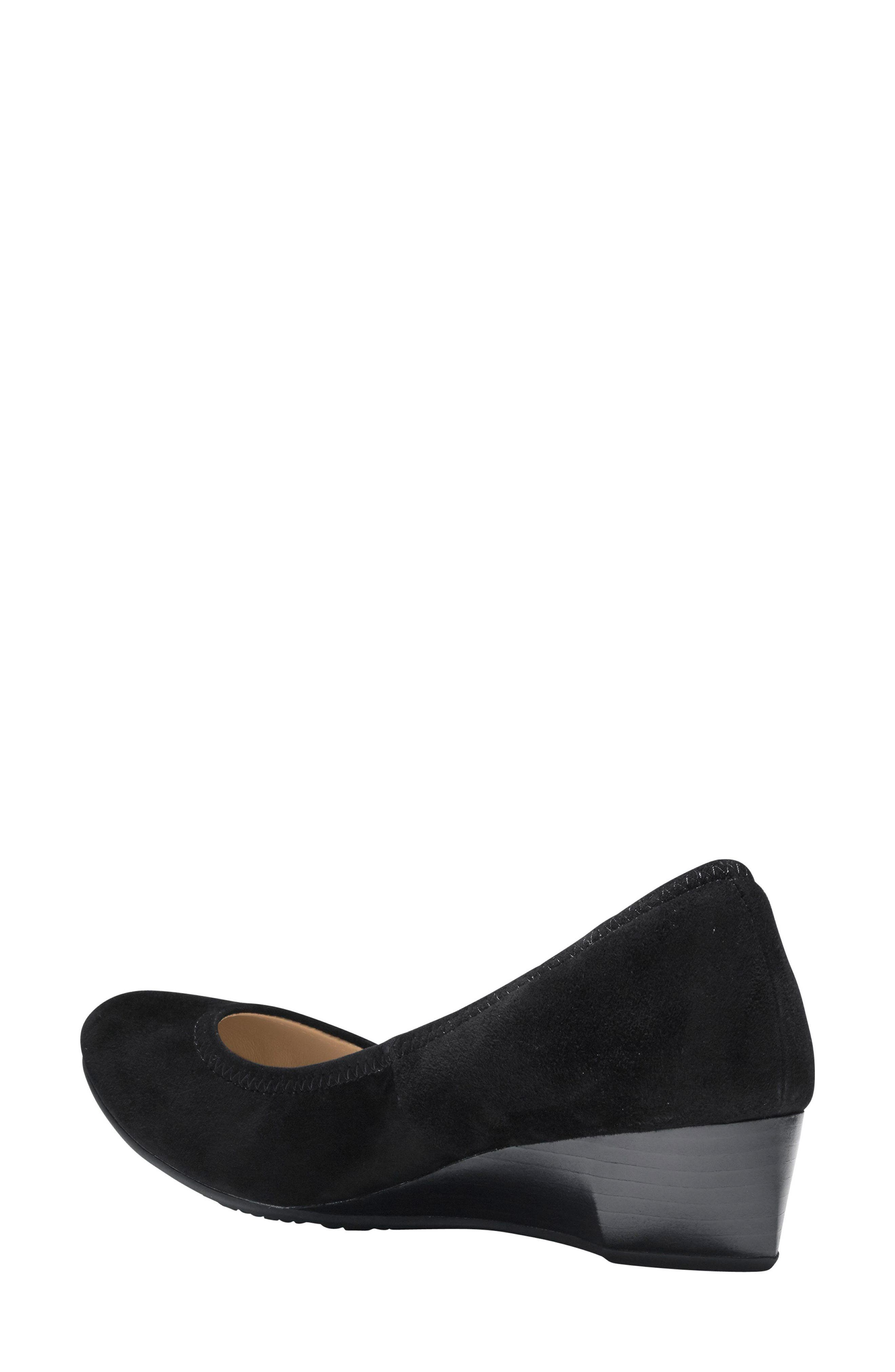 Sadie Wedge Pump,                             Alternate thumbnail 2, color,                             BLACK SUEDE