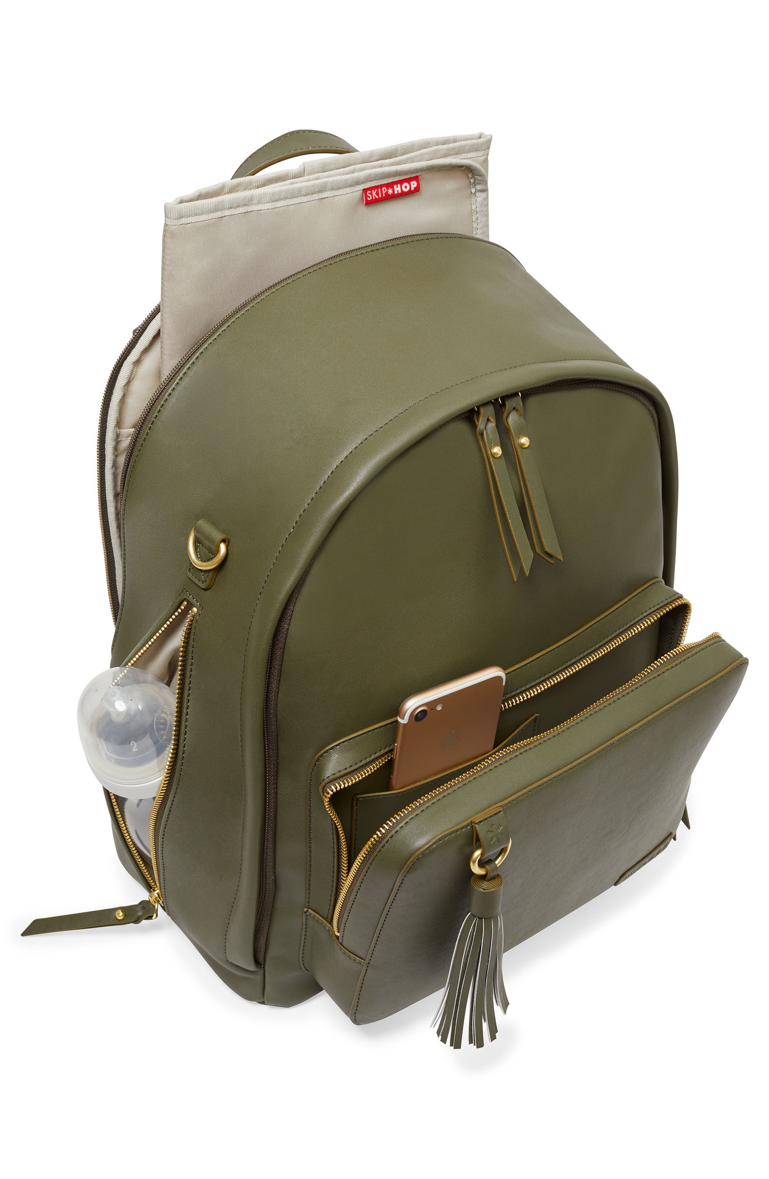 SKIP HOP,                             Greenwich Simply Chic Diaper Backpack,                             Alternate thumbnail 3, color,                             OLIVE