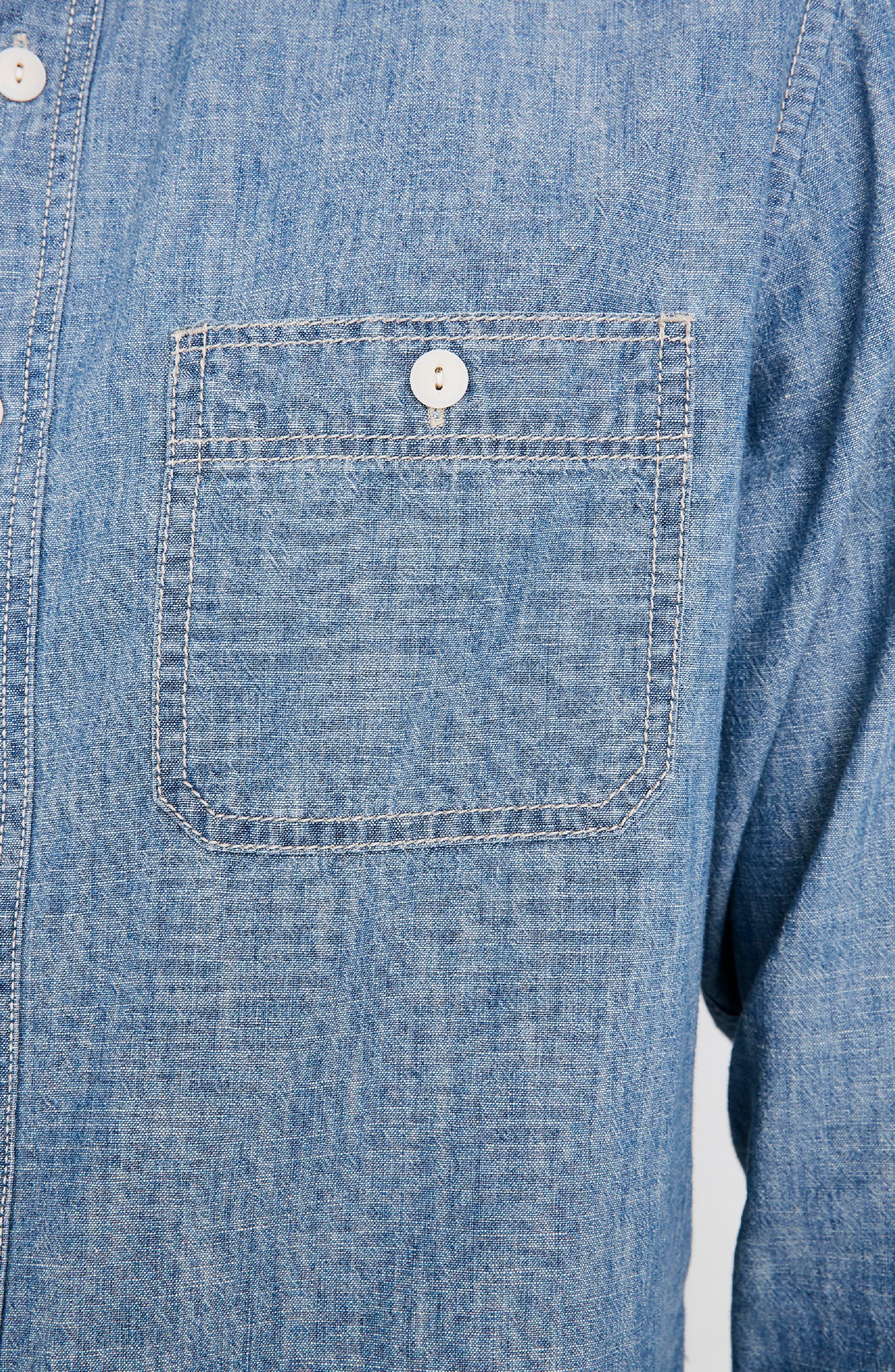 Classic Button Down Shirt,                             Alternate thumbnail 4, color,                             LESSING WASH