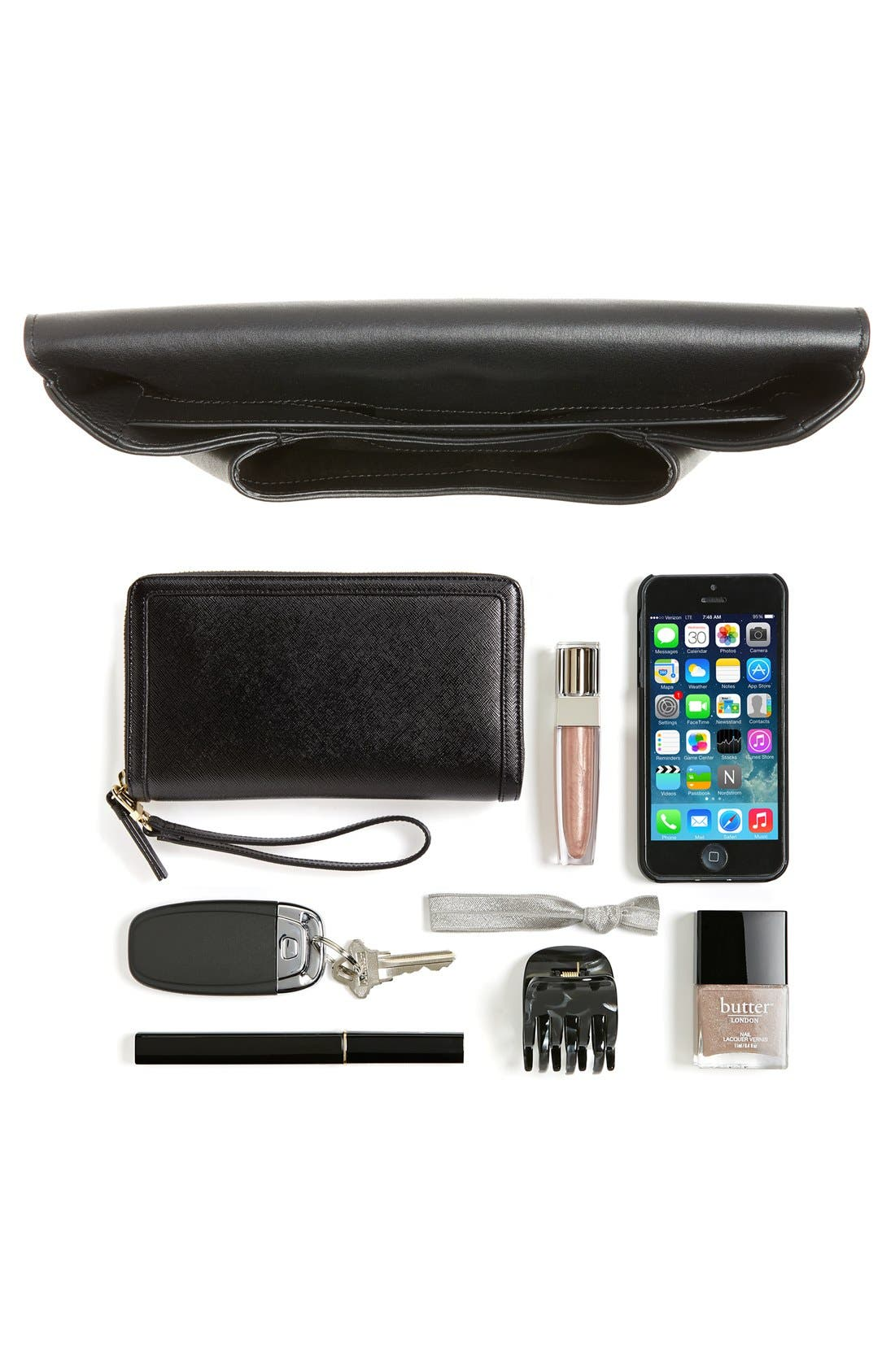 'Medium Antigona' Leather Envelope Clutch,                             Alternate thumbnail 5, color,                             001