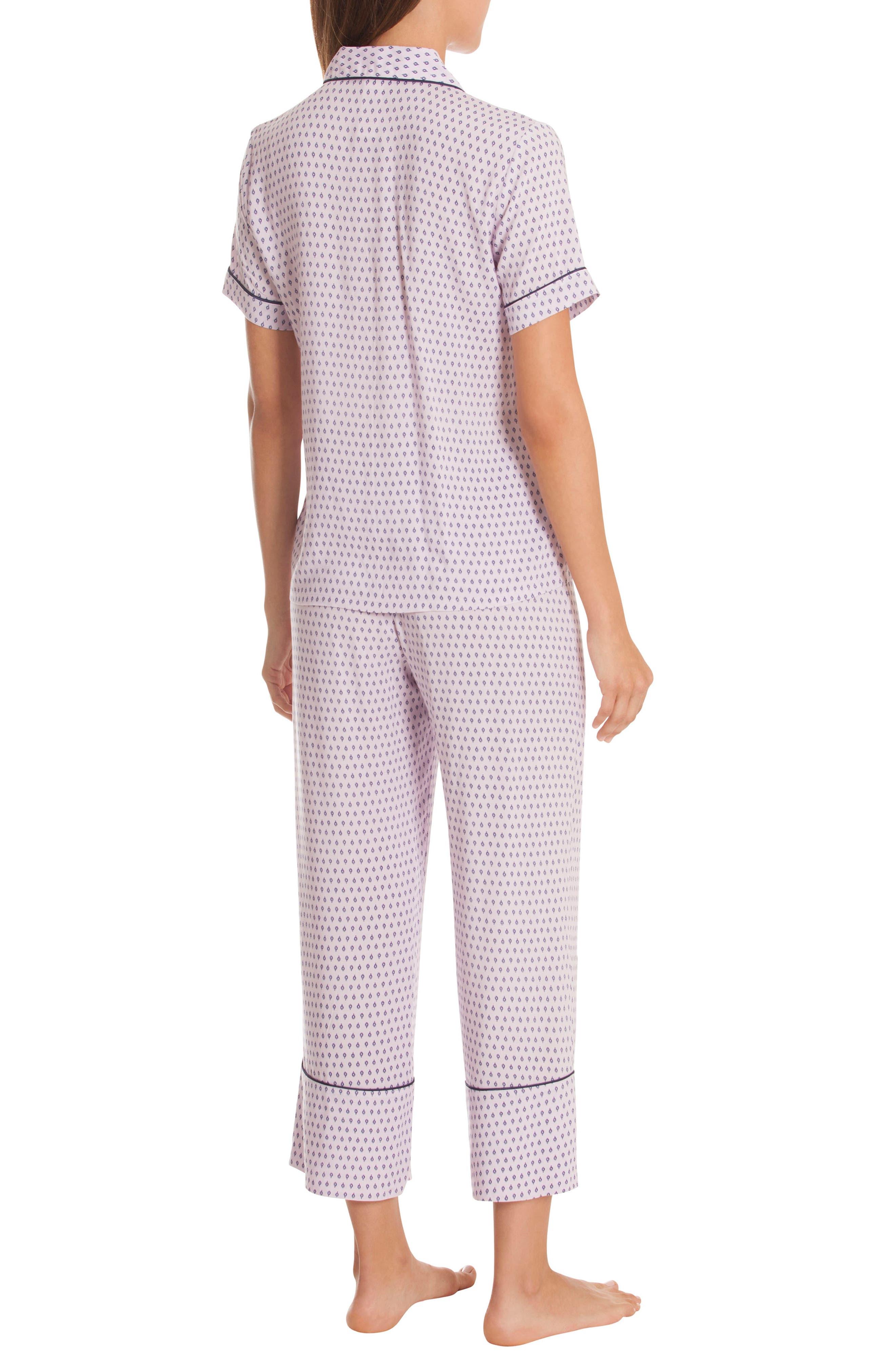 Crop Pajamas,                             Alternate thumbnail 2, color,                             DITSY FOULARD-LAVENDAR