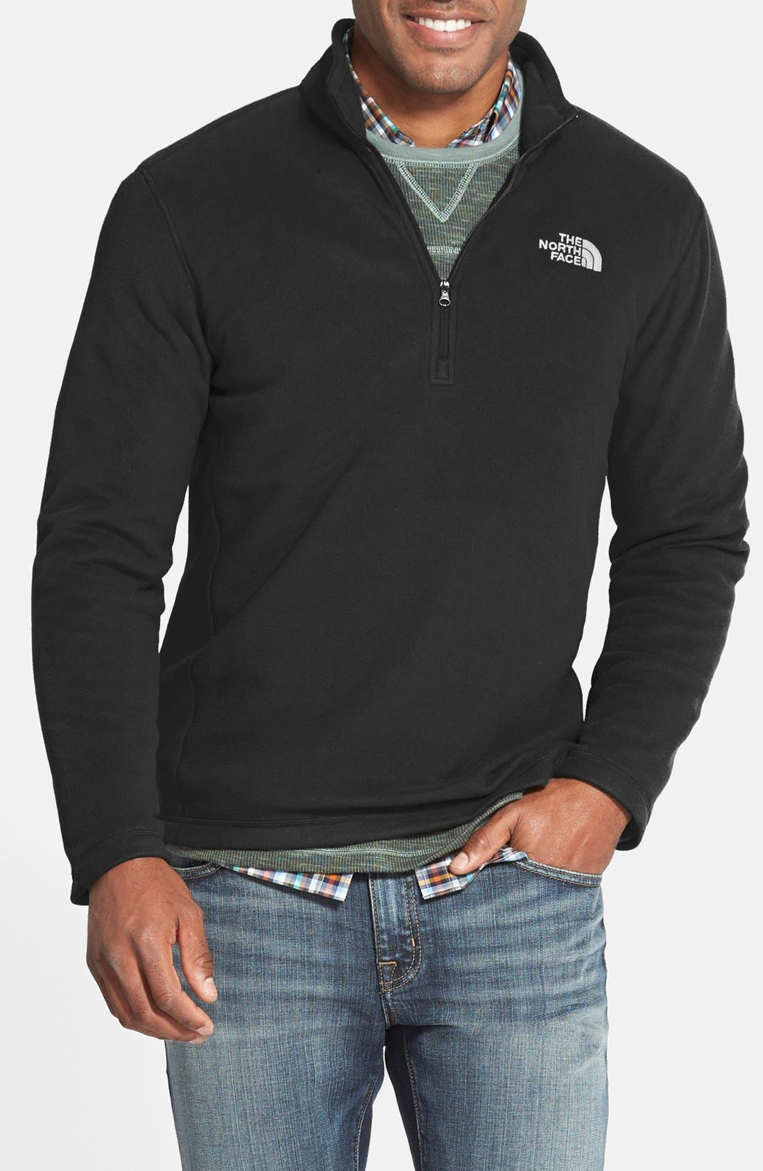 'TKA 100 Glacier' Quarter Zip Fleece Pullover,                             Alternate thumbnail 5, color,                             TNF BLACK
