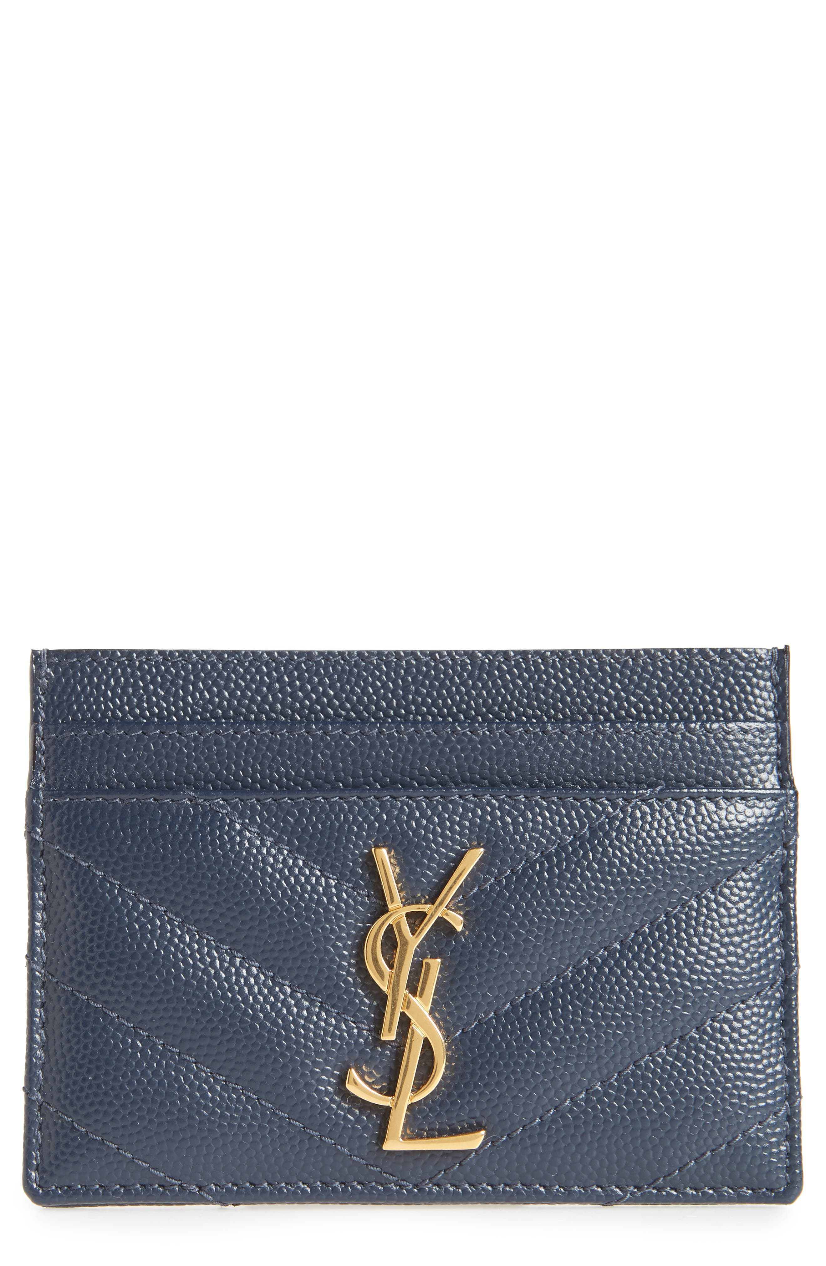 Monogram Quilted Leather Credit Card Case,                             Main thumbnail 1, color,                             NAVY