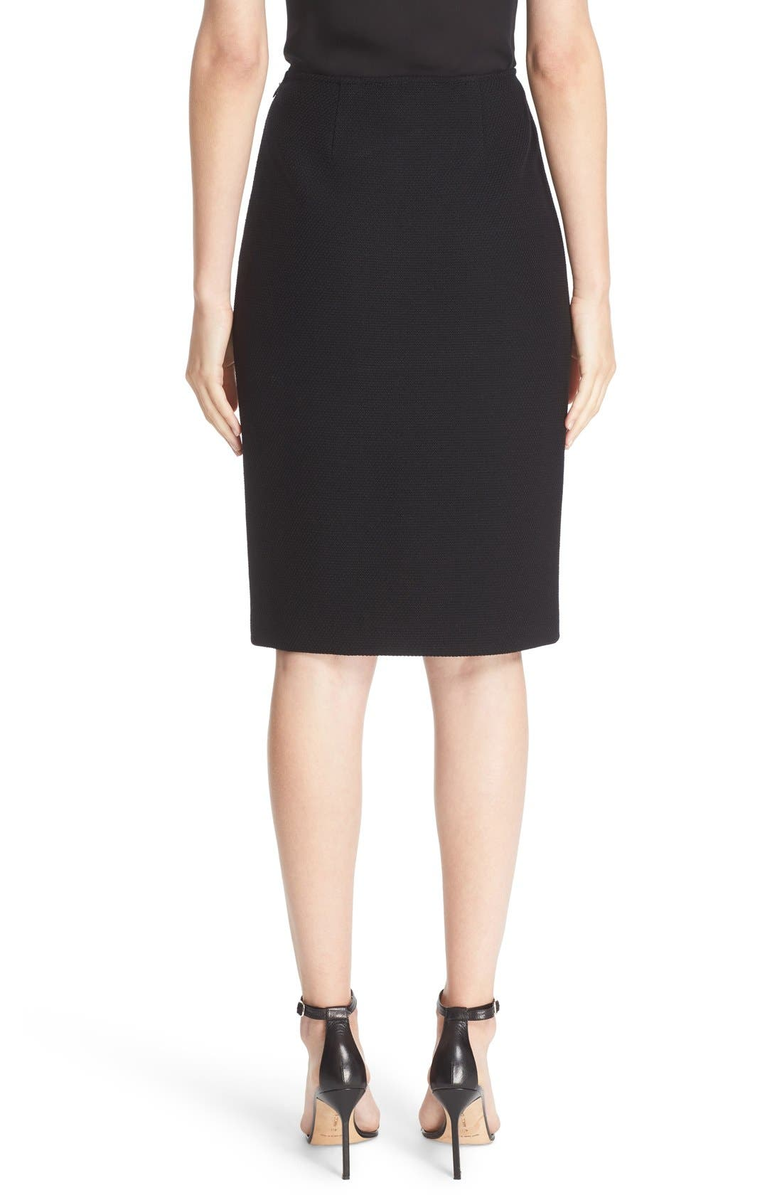 Micro Bouclé Pencil Skirt,                             Alternate thumbnail 3, color,                             CAVIAR