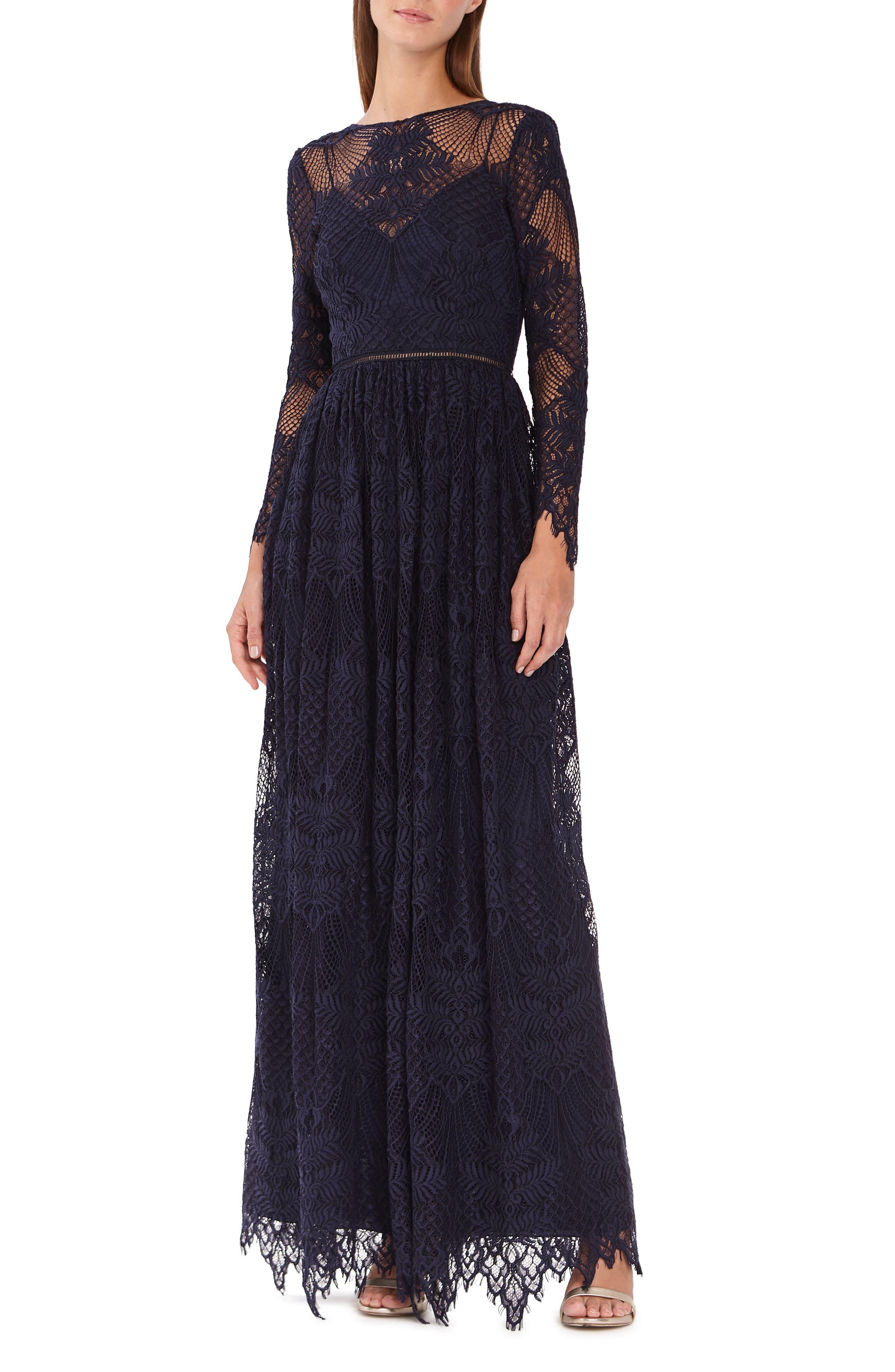 Ml Monique Lhuillier Long Sleeve Floral Lace Gown, Blue