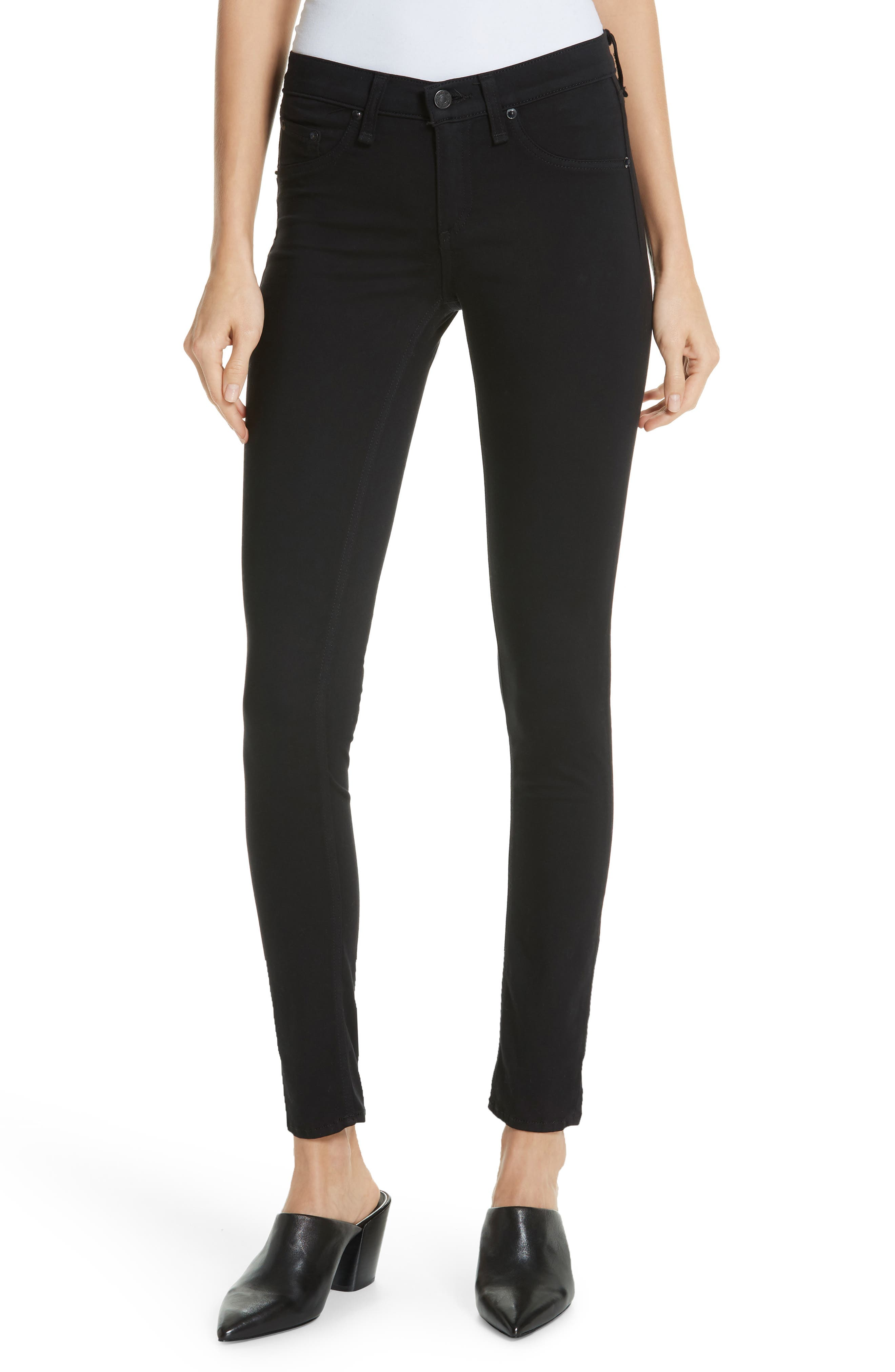 High Waist Ankle Skinny Jeans in Black