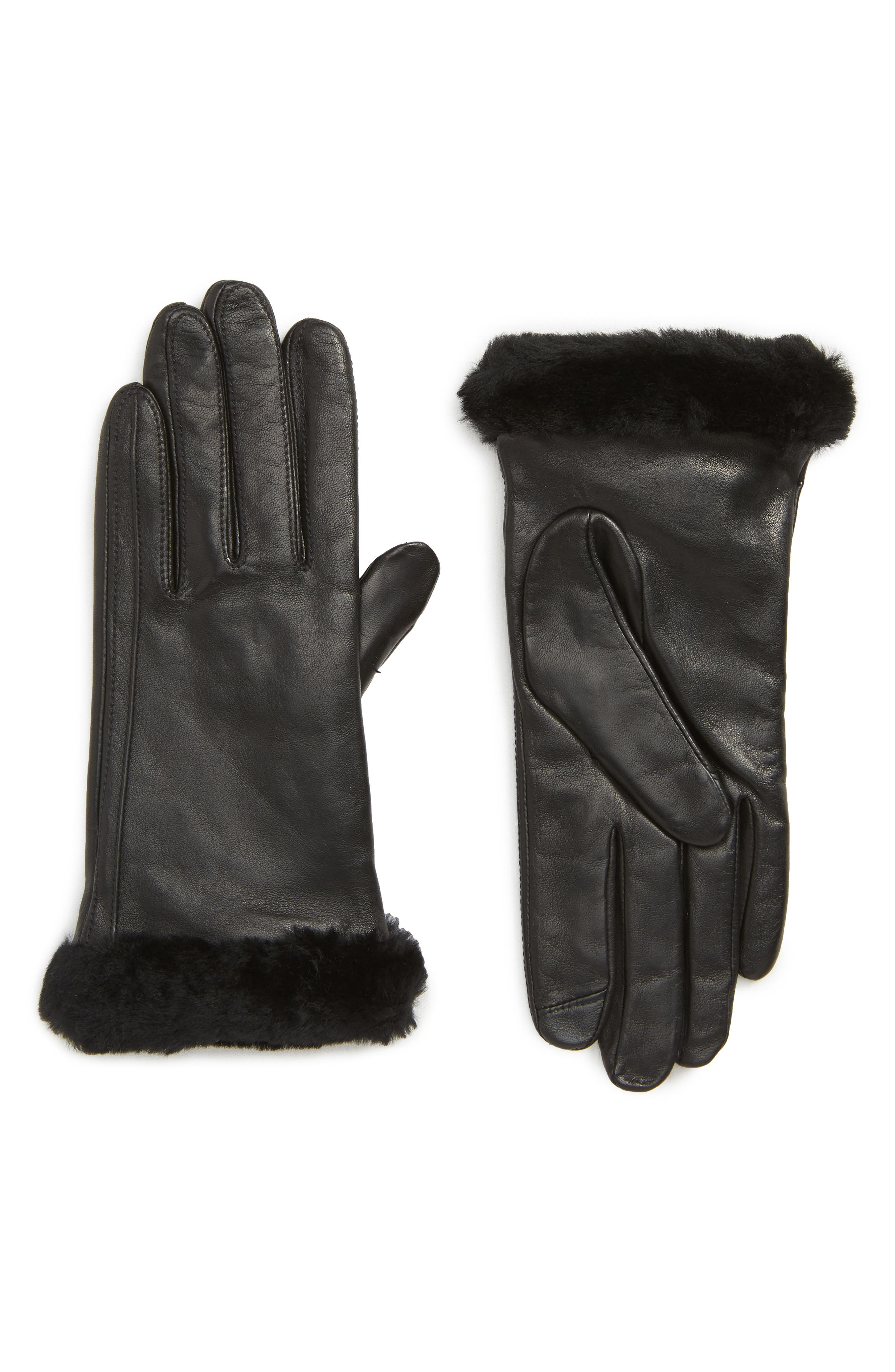 Touchscreen Compatible Leather Gloves with Genuine Shearling Trim,                             Main thumbnail 1, color,                             BLACK