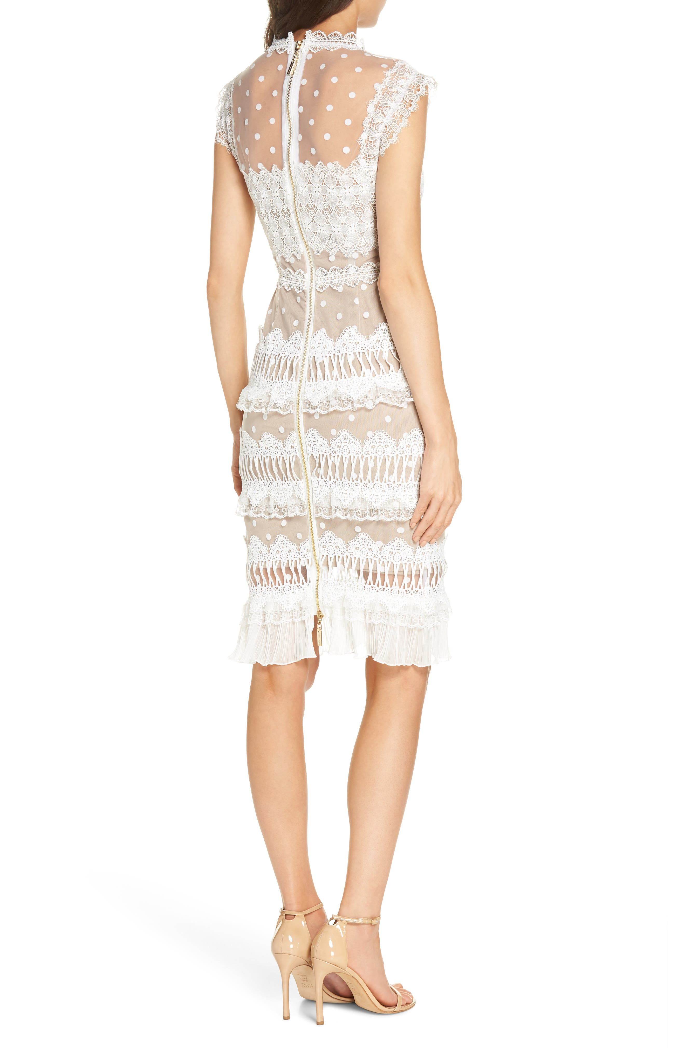 Majiorca Dot Lace Cocktail Dress,                             Alternate thumbnail 2, color,                             WHITE