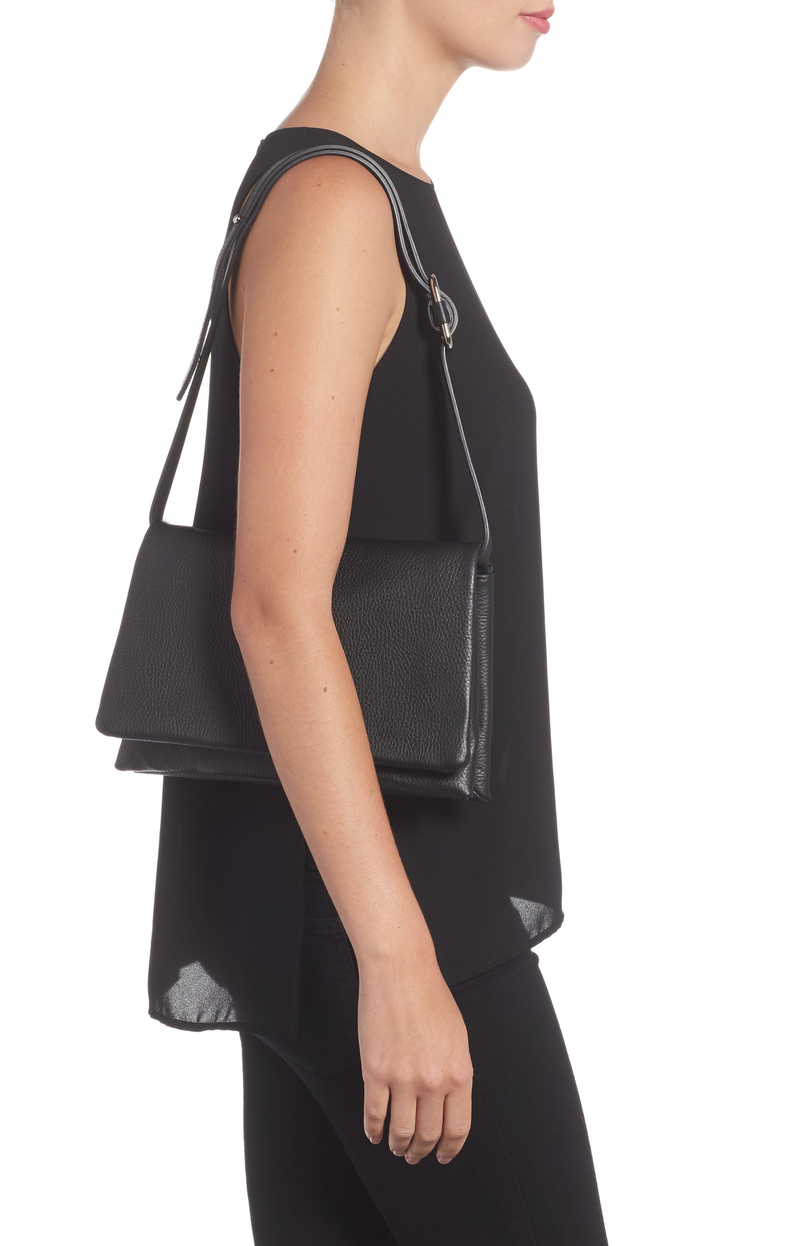 Leather Convertible Shoulder Bag,                             Alternate thumbnail 2, color,                             001