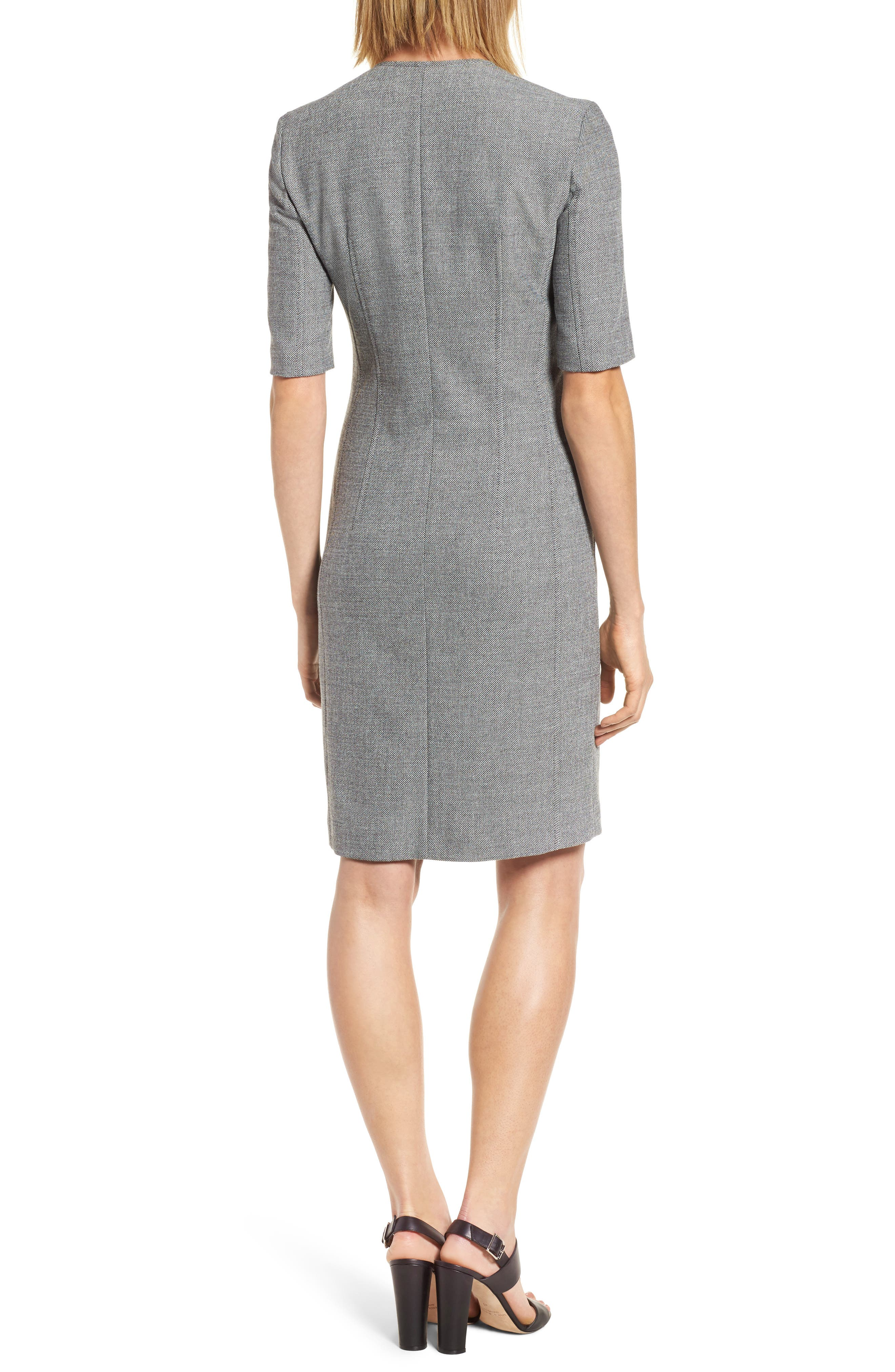 Demirana Zip Front Sheath Dress,                             Alternate thumbnail 2, color,