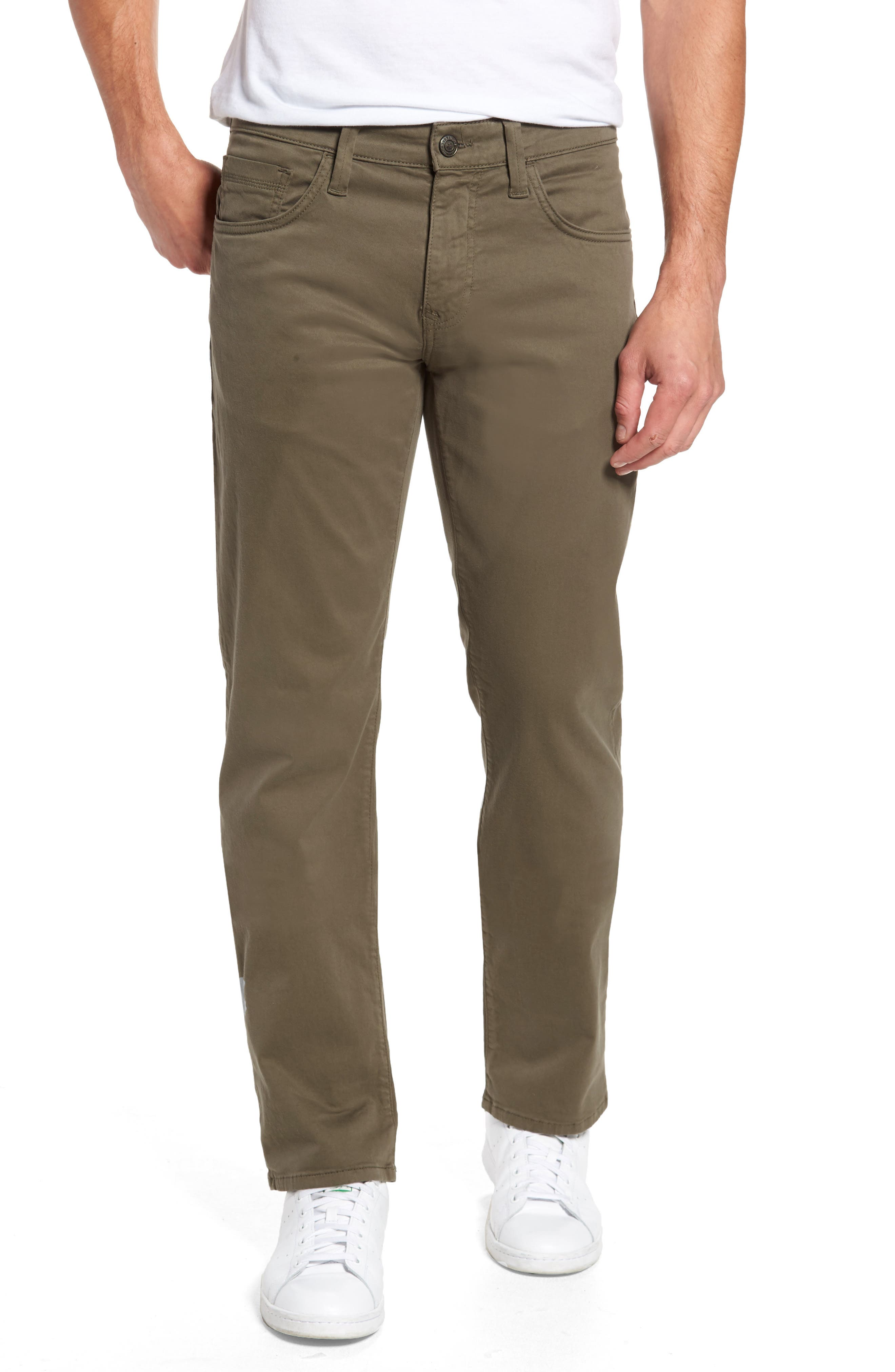 Zach Straight Fit Twill Pants,                         Main,                         color, DUSTY OLIVE TWILL