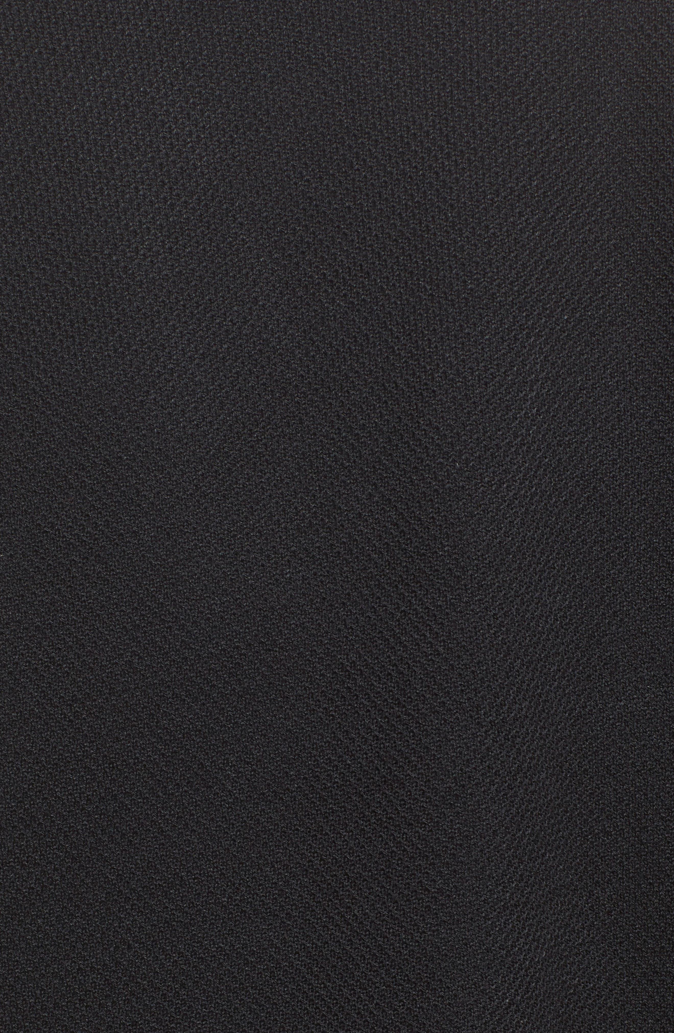 Fringe Trim Milano Piqué Knit Coat,                             Alternate thumbnail 7, color,                             CAVIAR