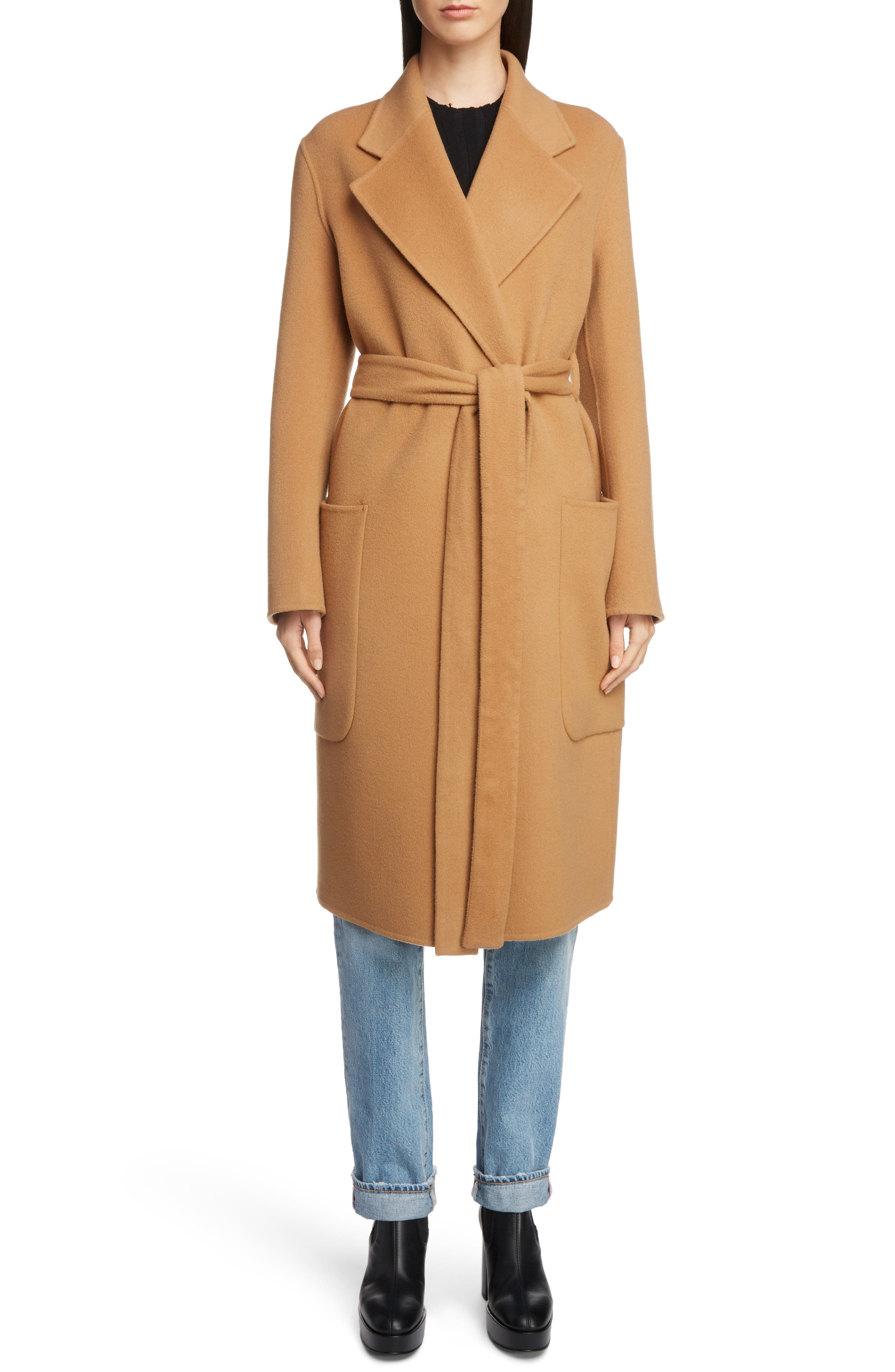 Belted Double Wool & Cashmere Coat,                         Main,                         color, CAMEL BROWN