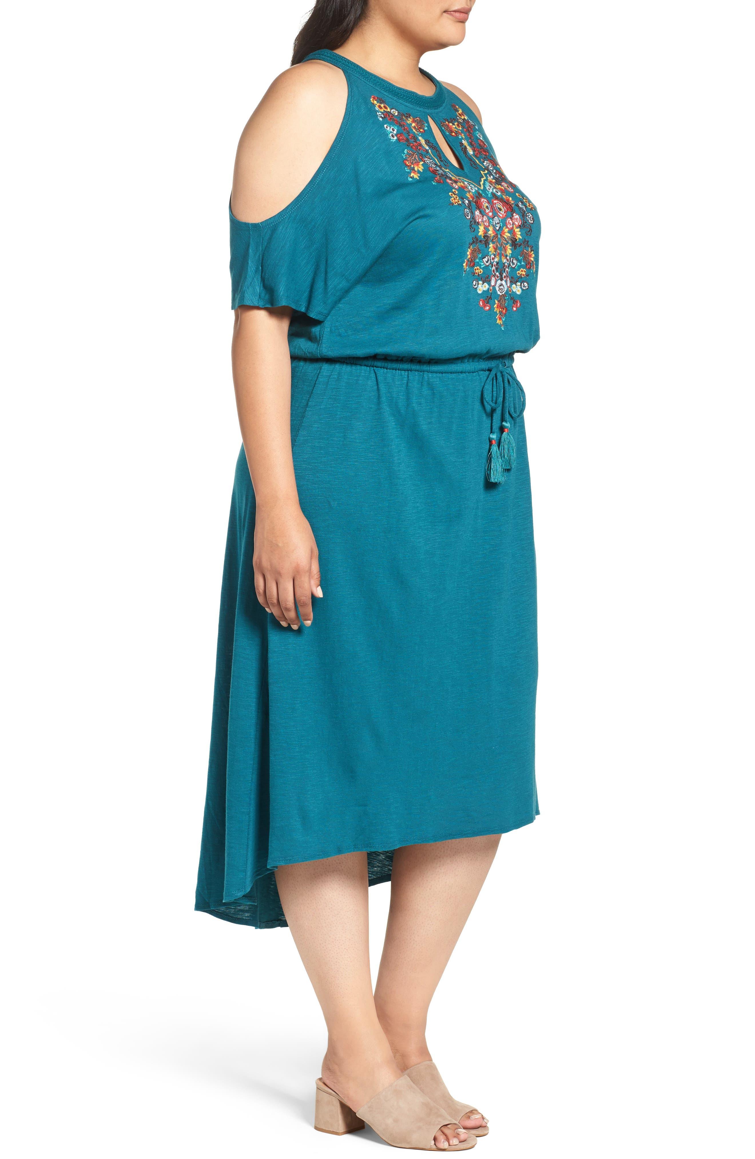 Embroidered Blouson Cold Shoulder Dress,                             Alternate thumbnail 3, color,                             360
