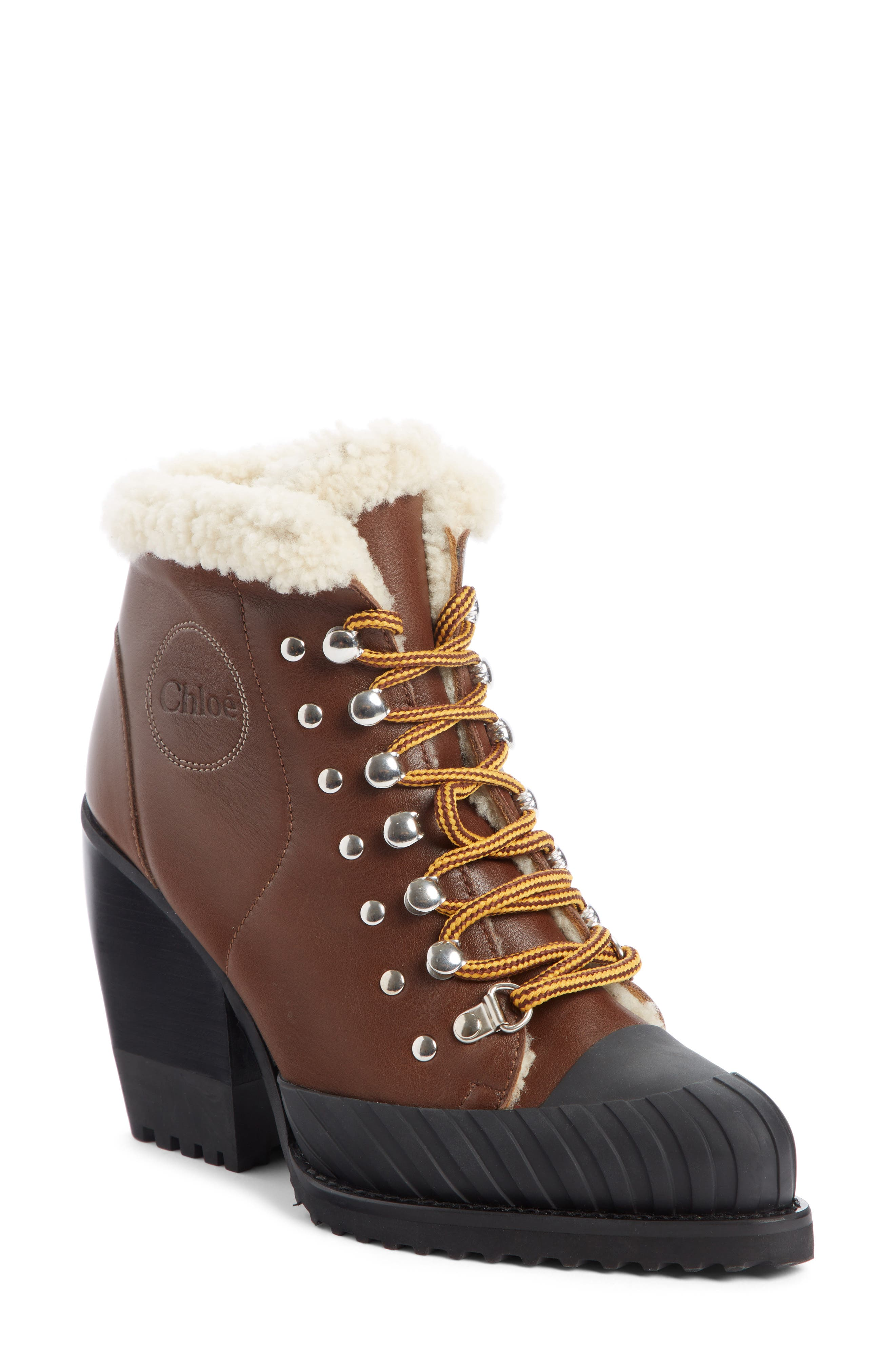 Rylee Genuine Shearling Lined Hiking Boot,                             Main thumbnail 1, color,                             TRUE BROWN LEATHER